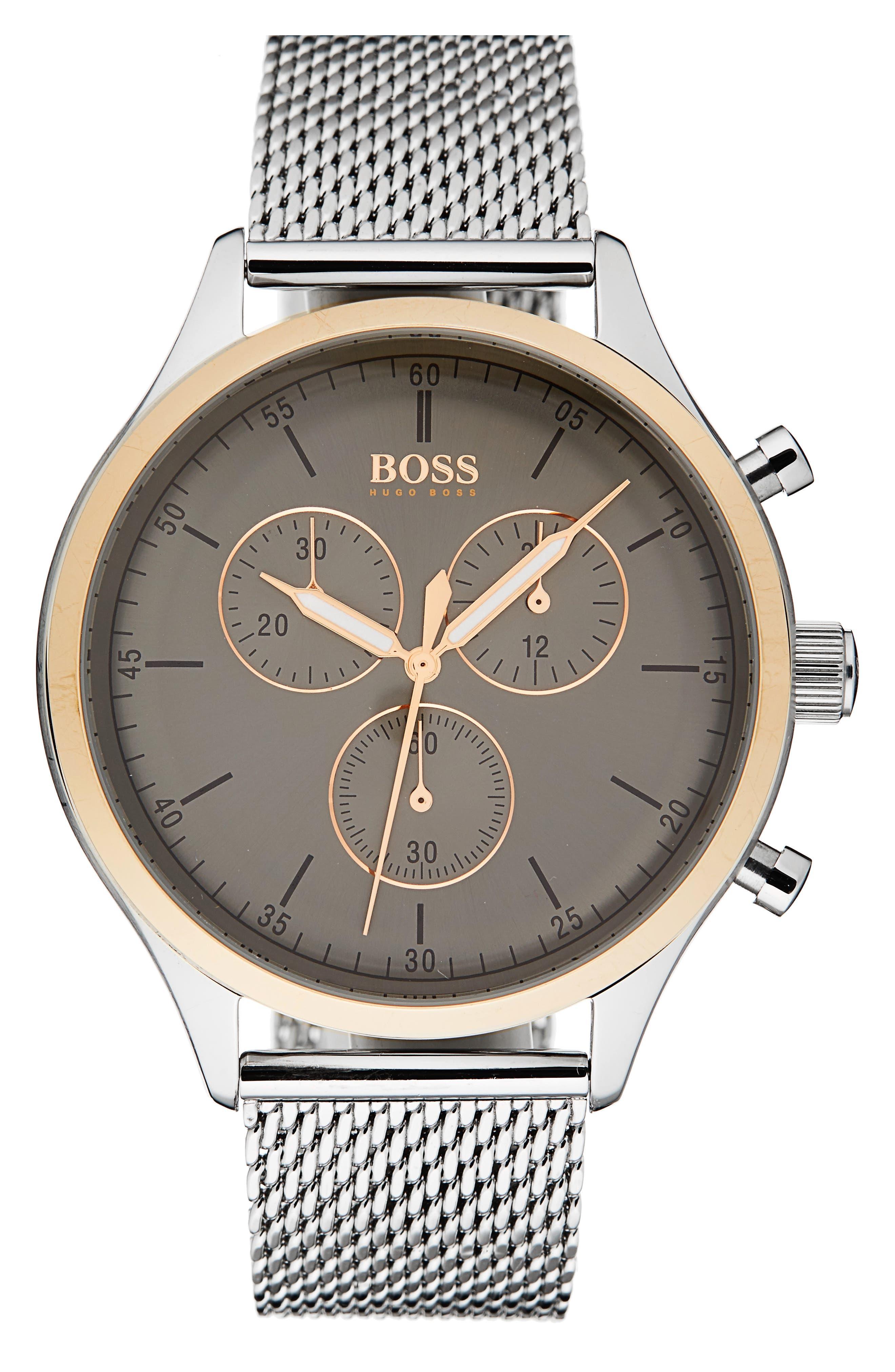 Companion Chronograph Mesh Bracelet Watch, 42mm,                         Main,                         color, Gunmetal/ Stainless Steel