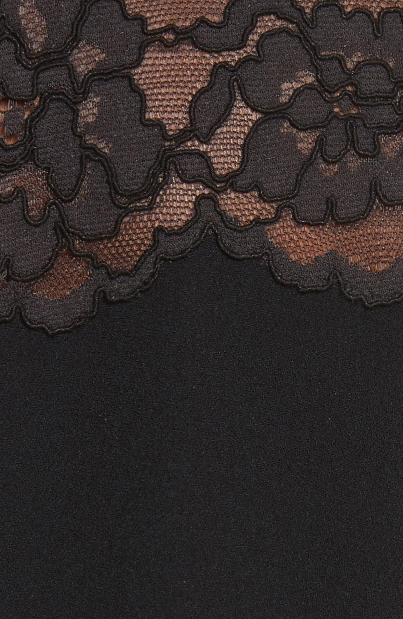 Lace & Crepe A-Line Dress,                             Alternate thumbnail 5, color,                             Black