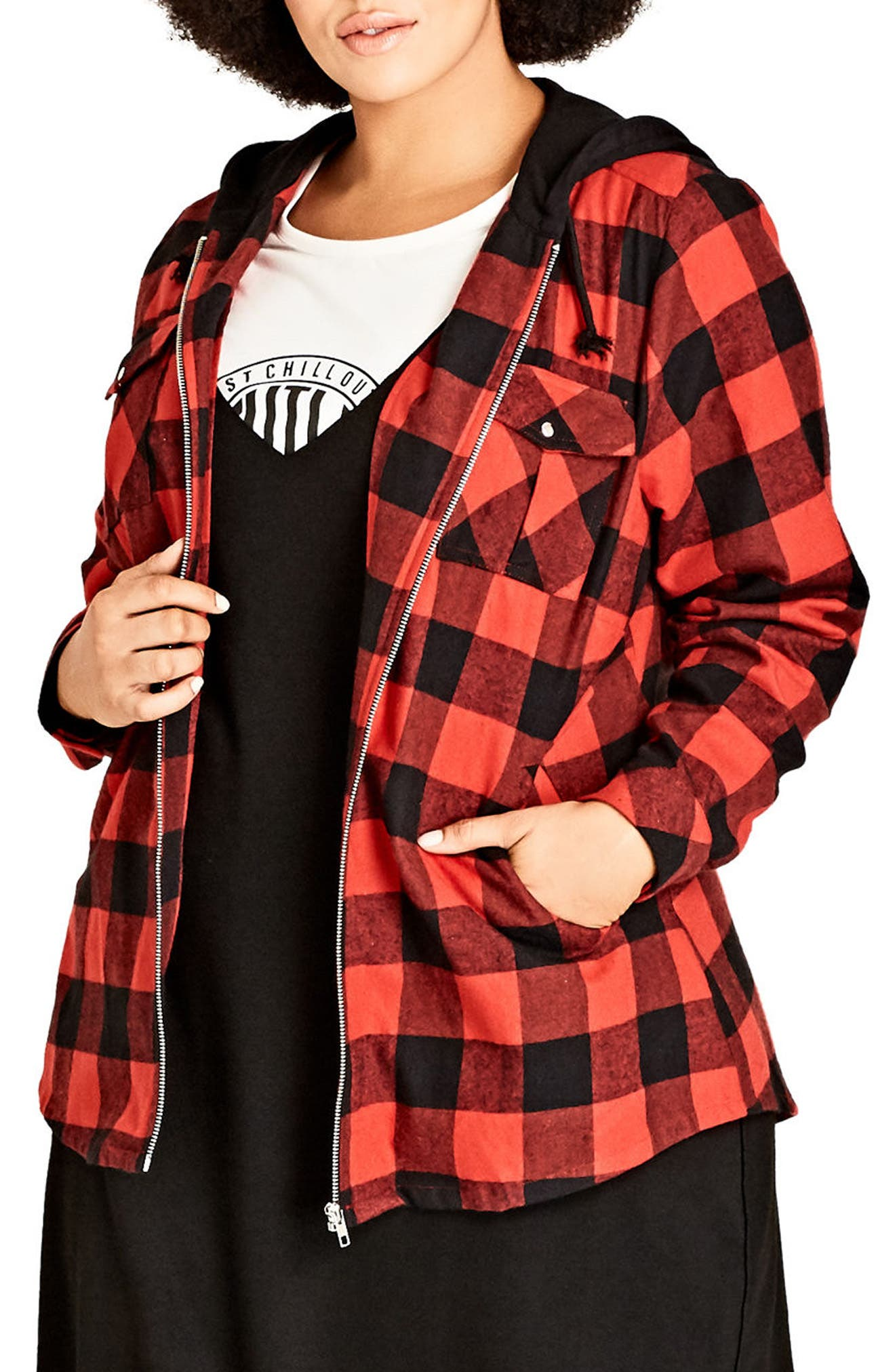 Check Mate Hooded Jacket,                         Main,                         color, Red Check