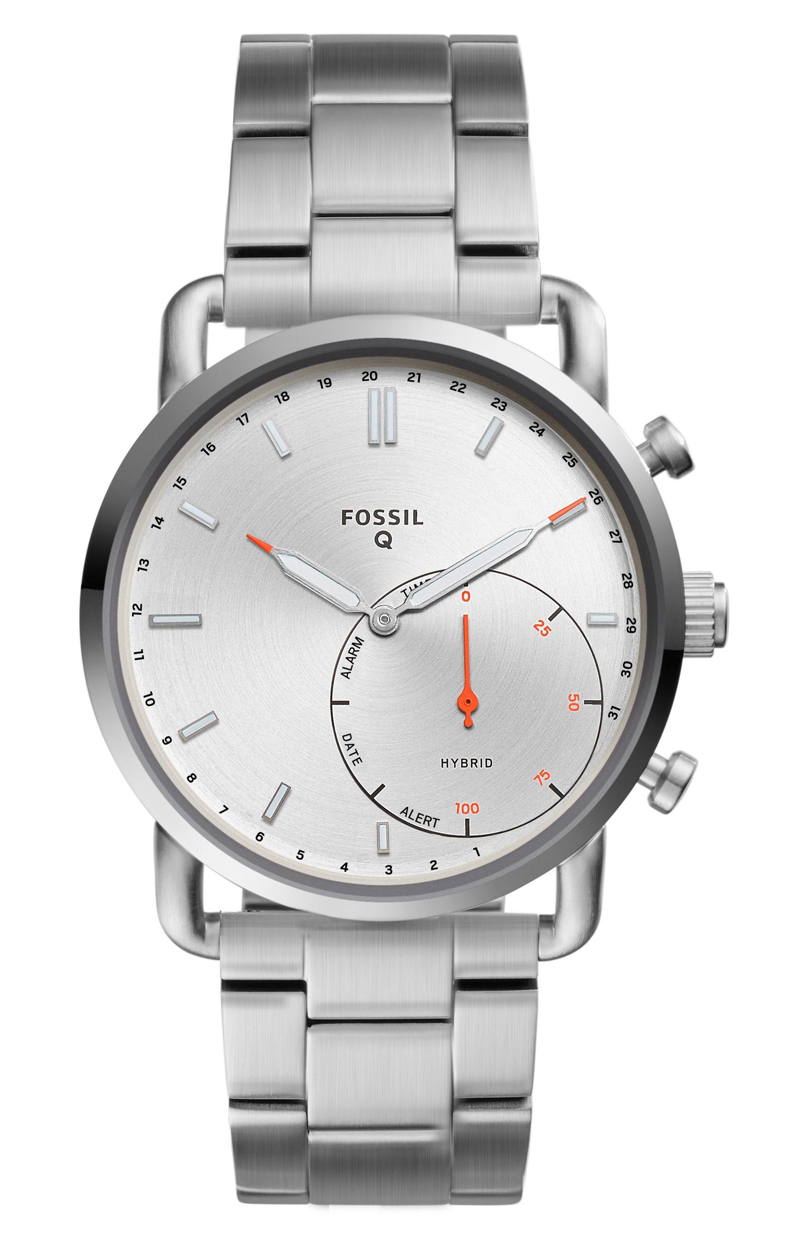 Commuter Bracelet Hybrid Smart Watch, 42mm,                             Main thumbnail 1, color,                             Silver