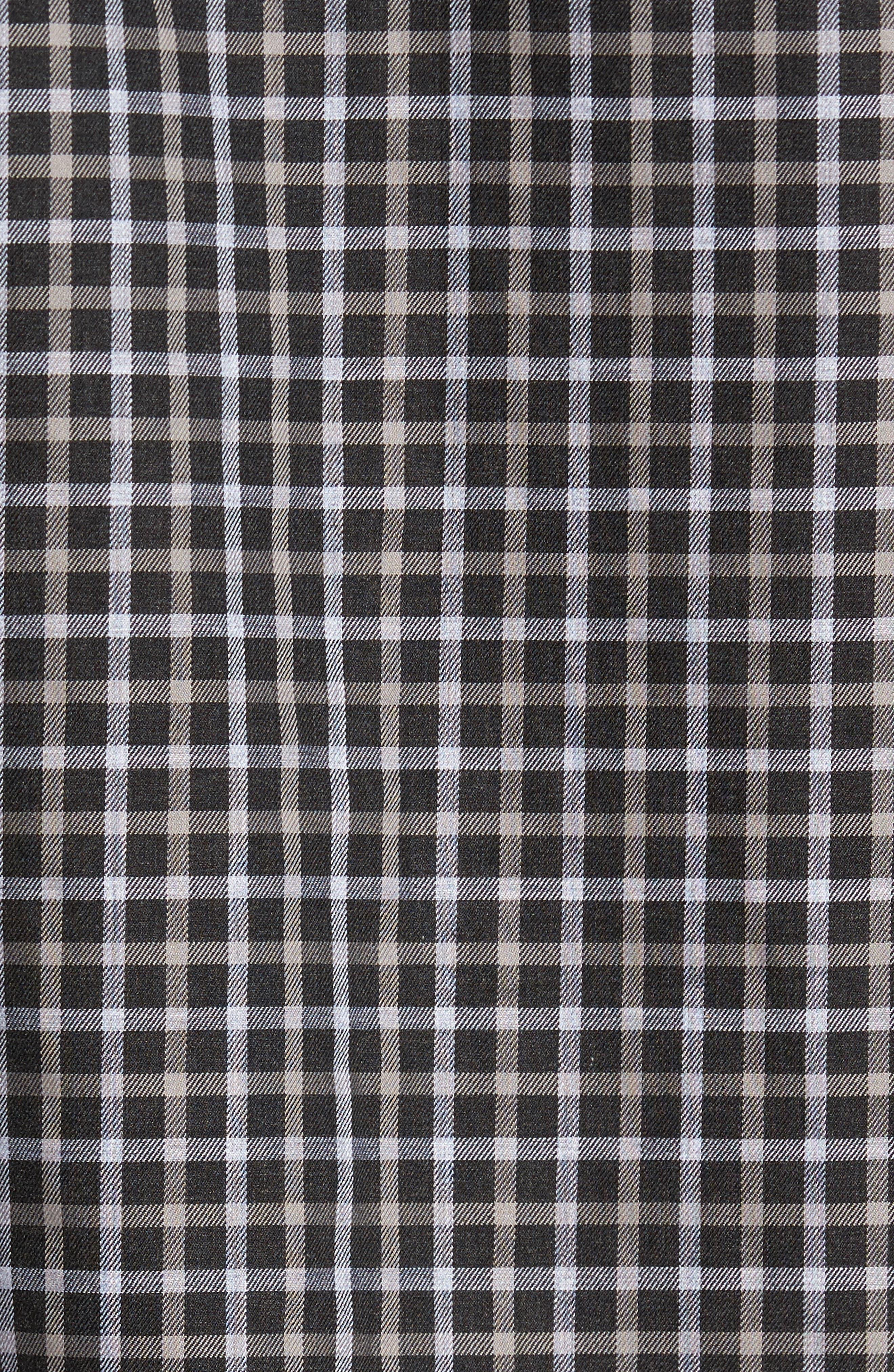 Regular Fit Non-Iron Check Sport Shirt,                             Alternate thumbnail 5, color,                             Black Caviar Grey Check