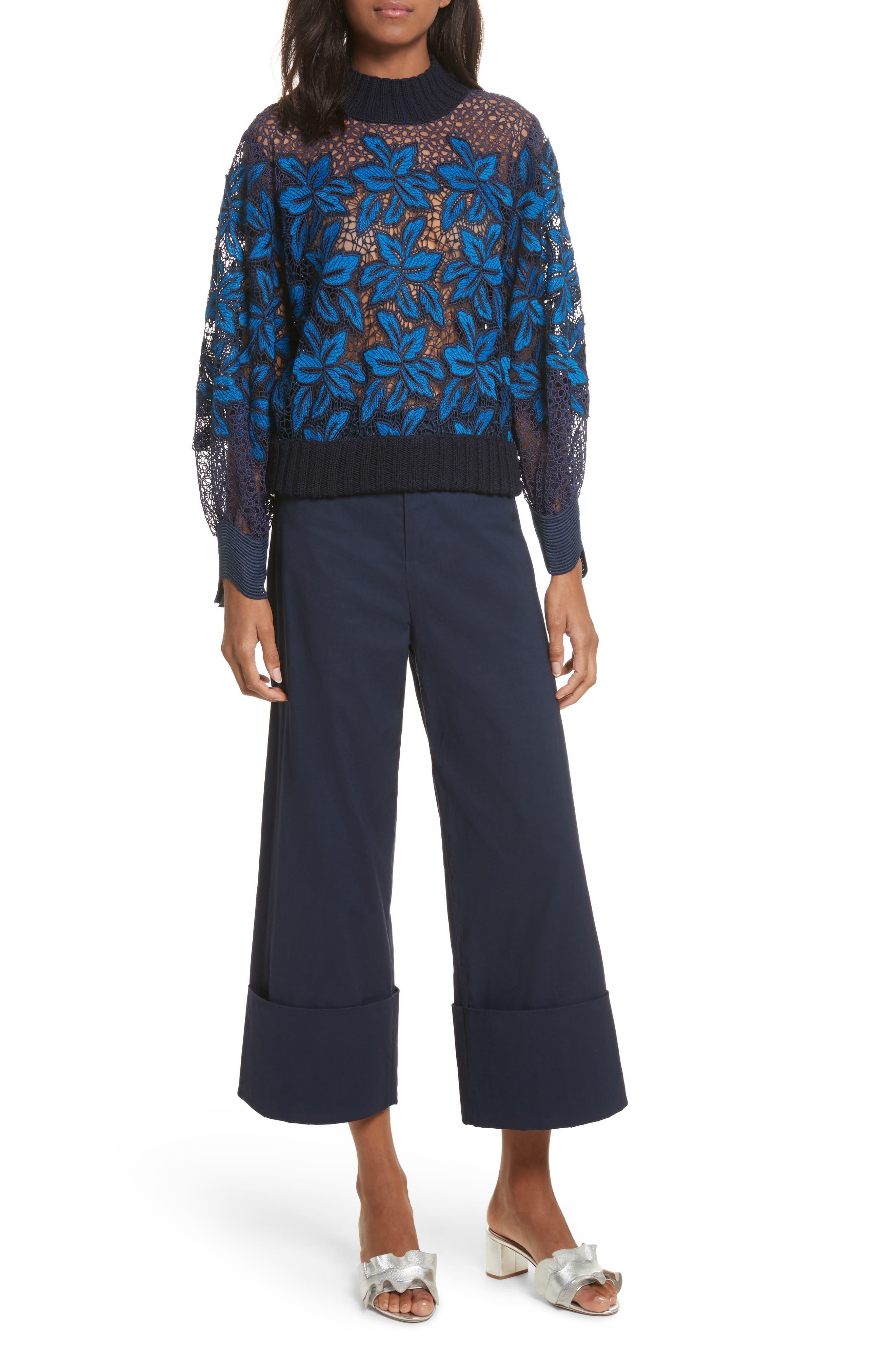 Mosaic Lace Bell Sleeve Sweatshirt,                             Alternate thumbnail 2, color,                             Blue Multi