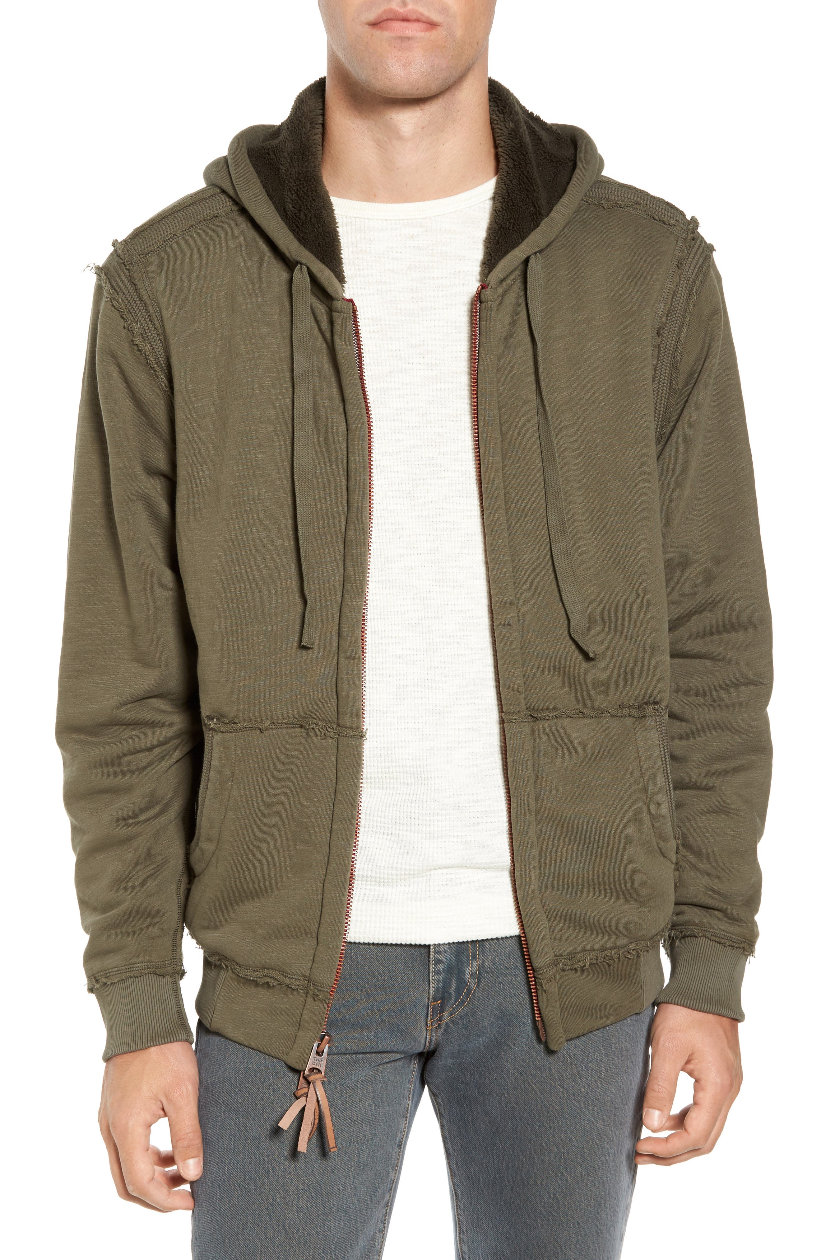 Frosty Pile Zip Front Hoodie,                         Main,                         color, Vintage Olive
