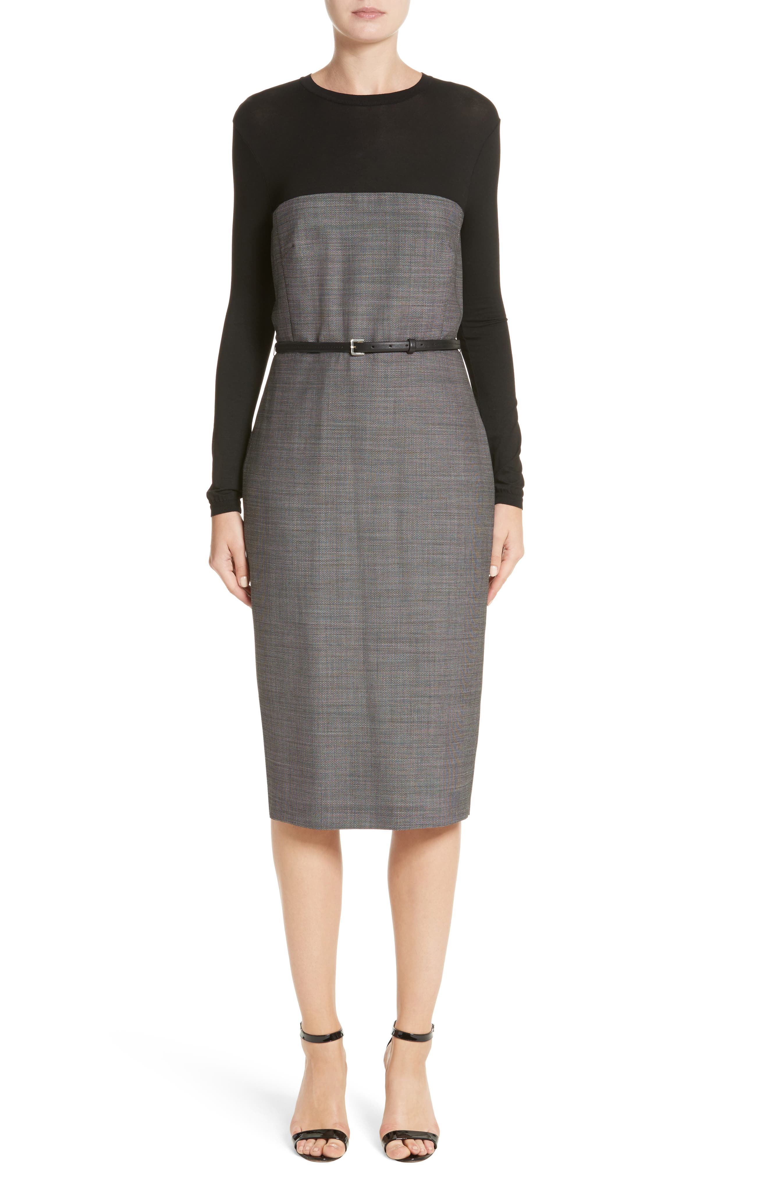 Canapa Stretch Wool Layered Sheath Dress,                             Main thumbnail 1, color,                             Black