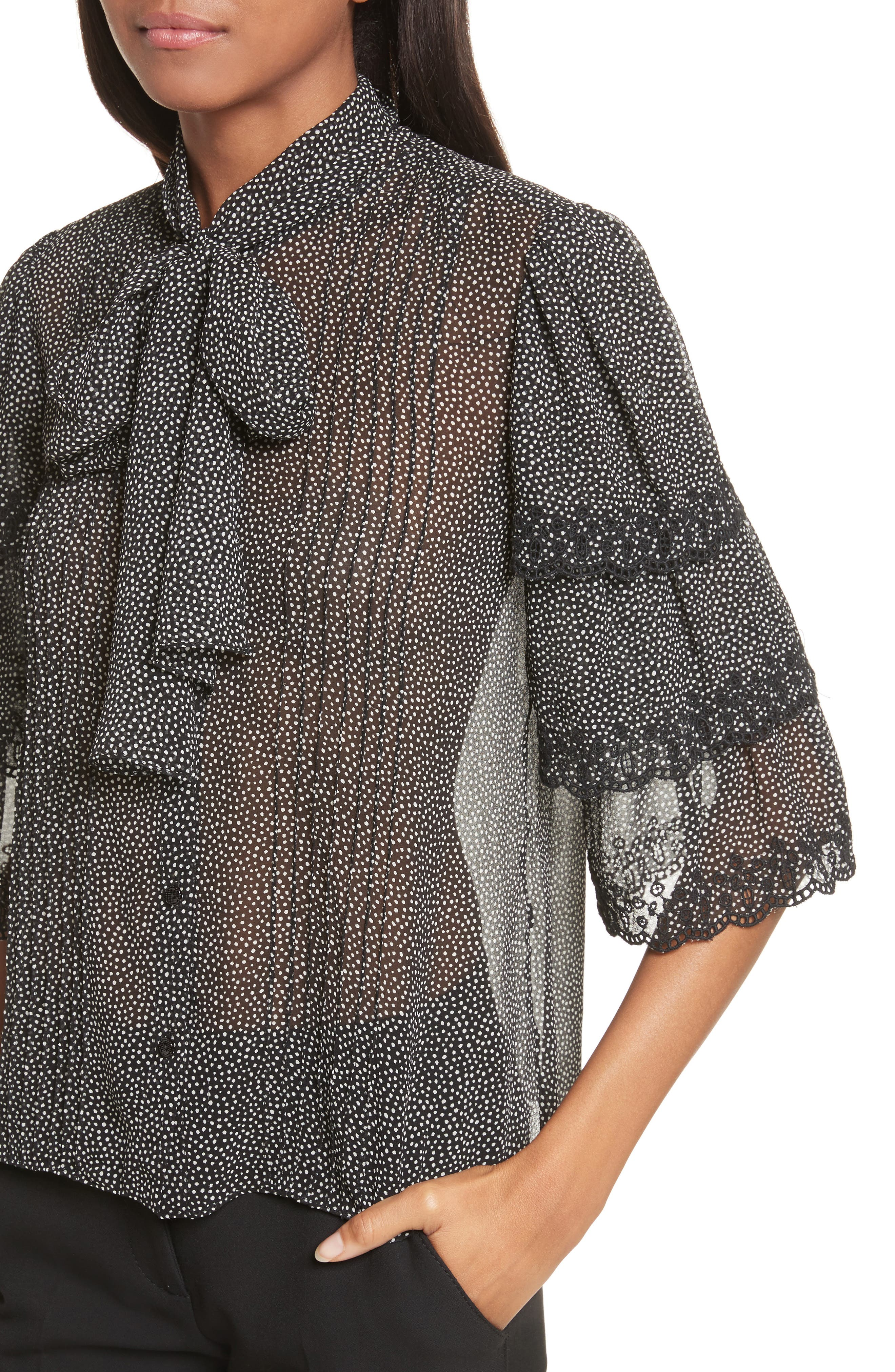 Alternate Image 4  - Rebecca Taylor Tie Neck Tiered Sleeve Silk Blouse