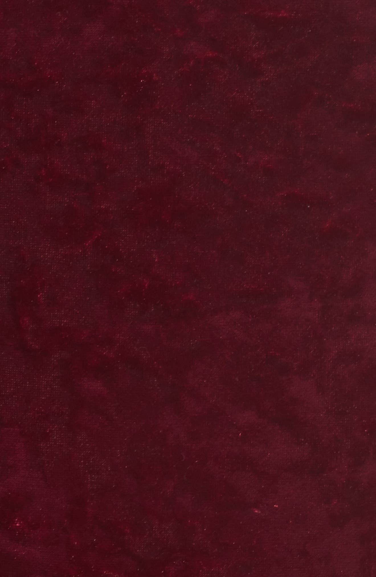 Off the Shoulder Velvet Dress,                             Alternate thumbnail 5, color,                             Wine