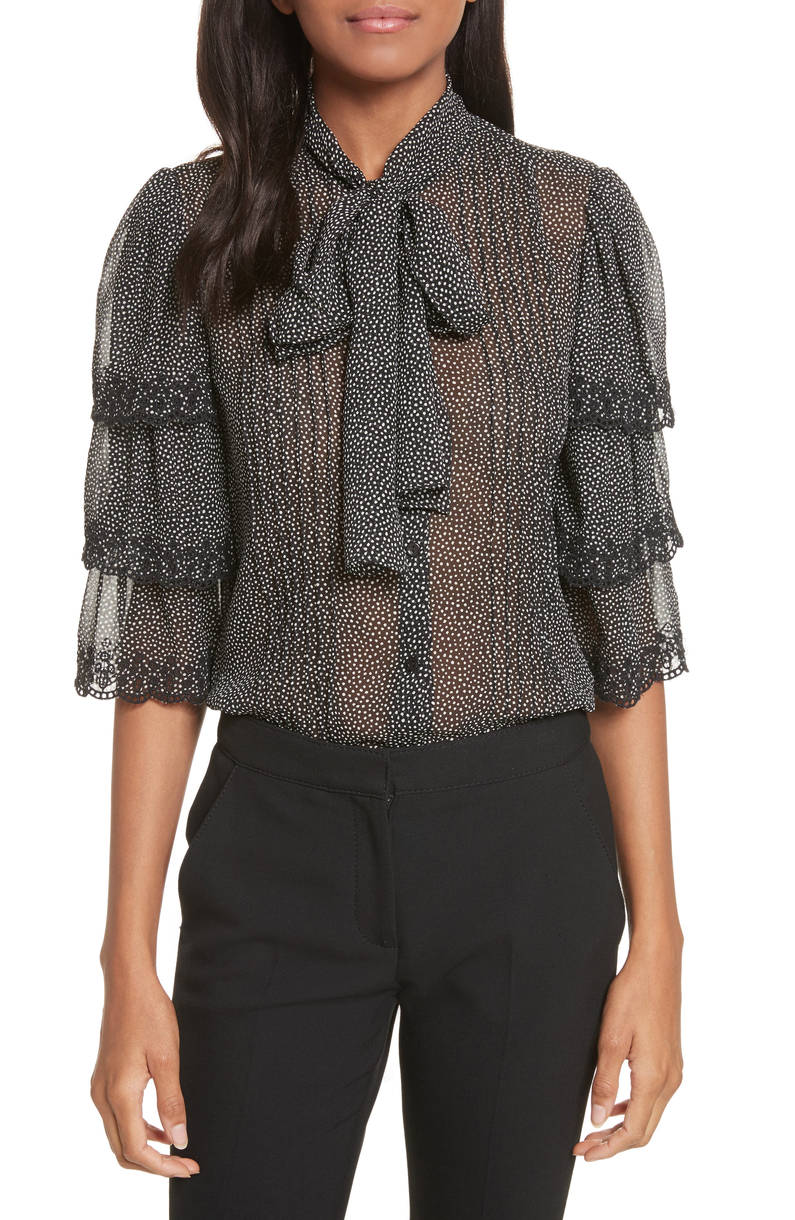 Alternate Image 1 Selected - Rebecca Taylor Tie Neck Tiered Sleeve Silk Blouse