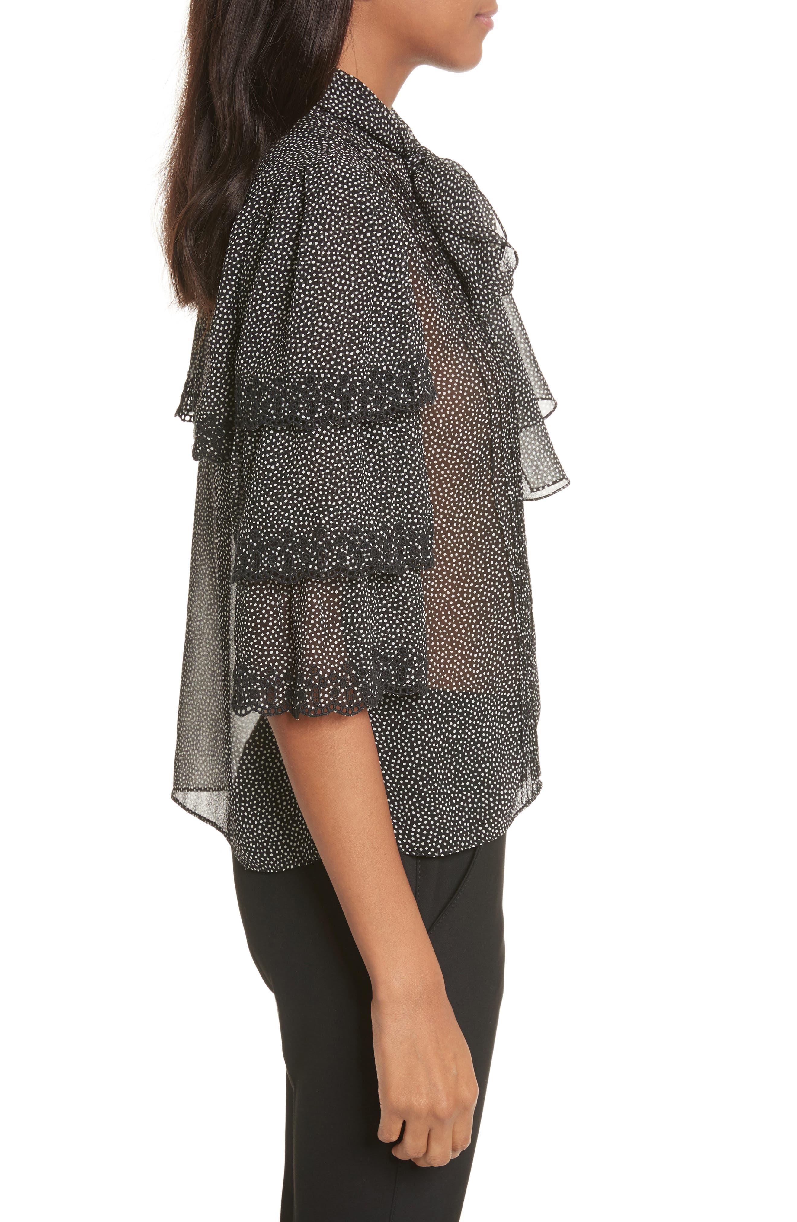 Alternate Image 3  - Rebecca Taylor Tie Neck Tiered Sleeve Silk Blouse