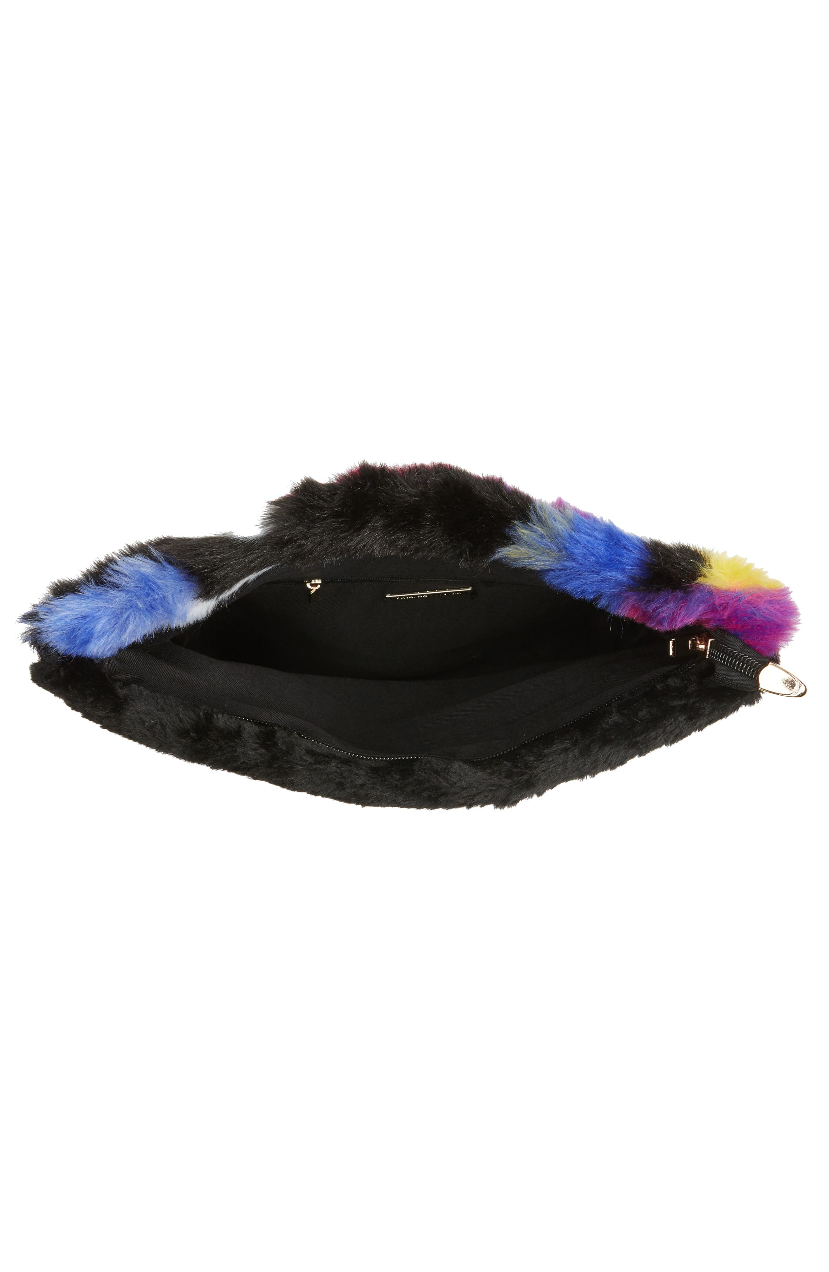 Faux Fur Foldover Clutch,                             Alternate thumbnail 5, color,                             Multi
