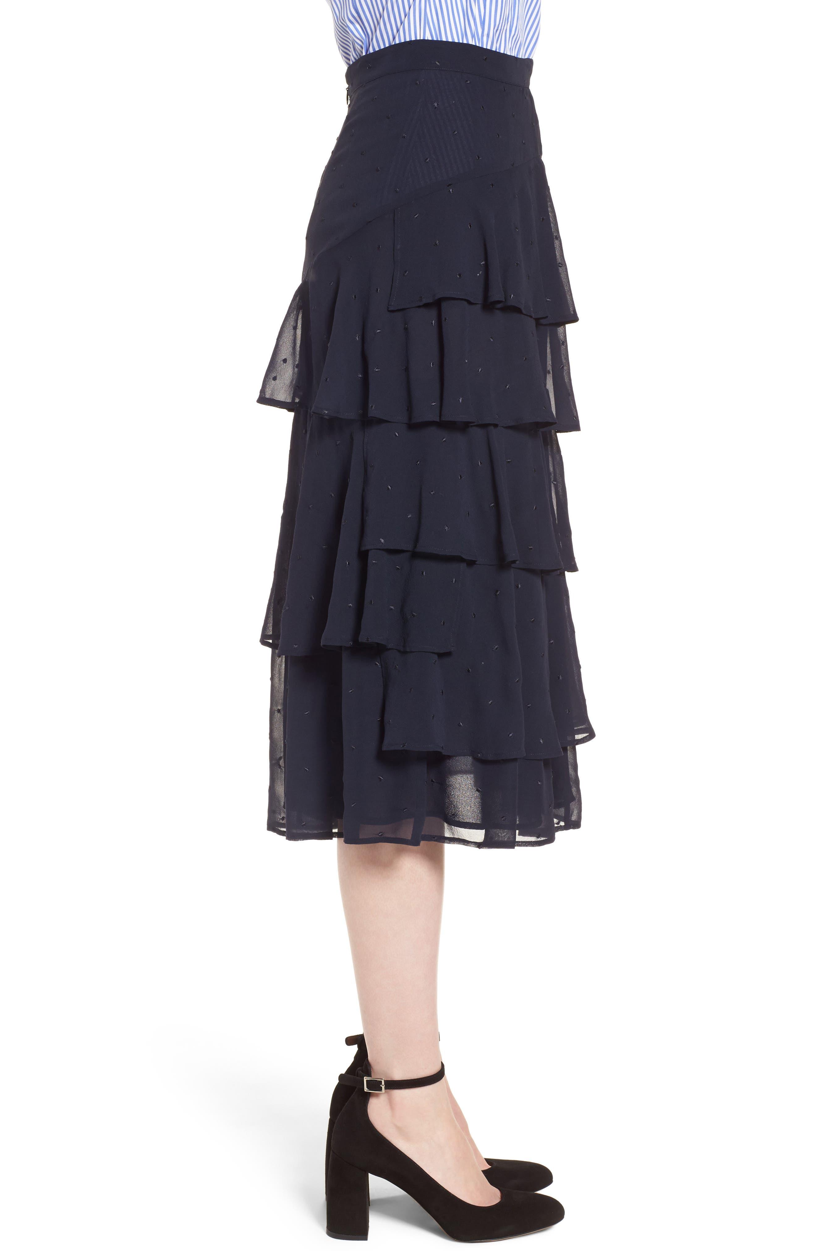 Tiered Silk Chiffon Skirt,                             Alternate thumbnail 4, color,                             Navy Night