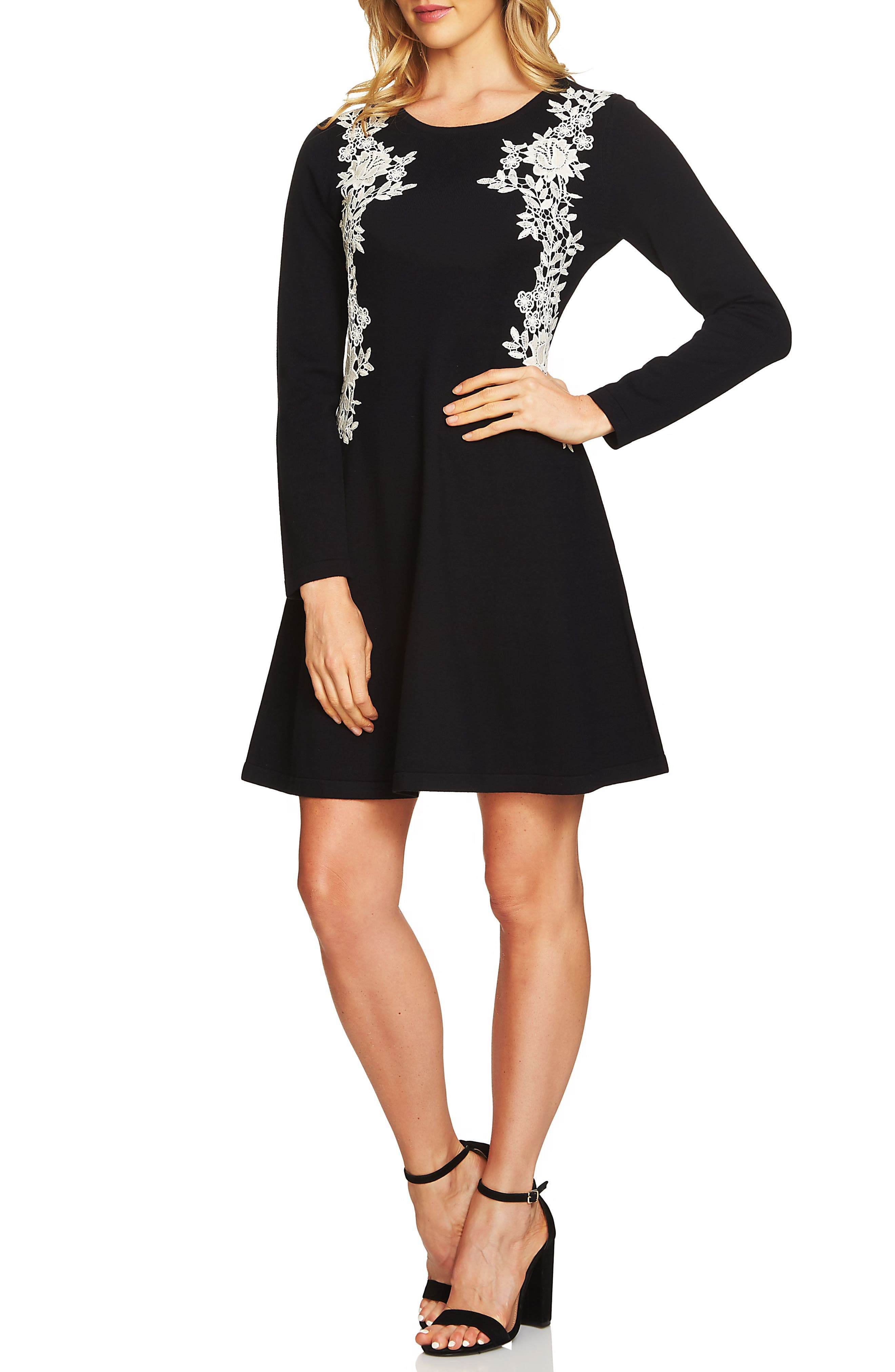 Lace Detail Sweater Dress,                             Main thumbnail 1, color,                             Rich Black