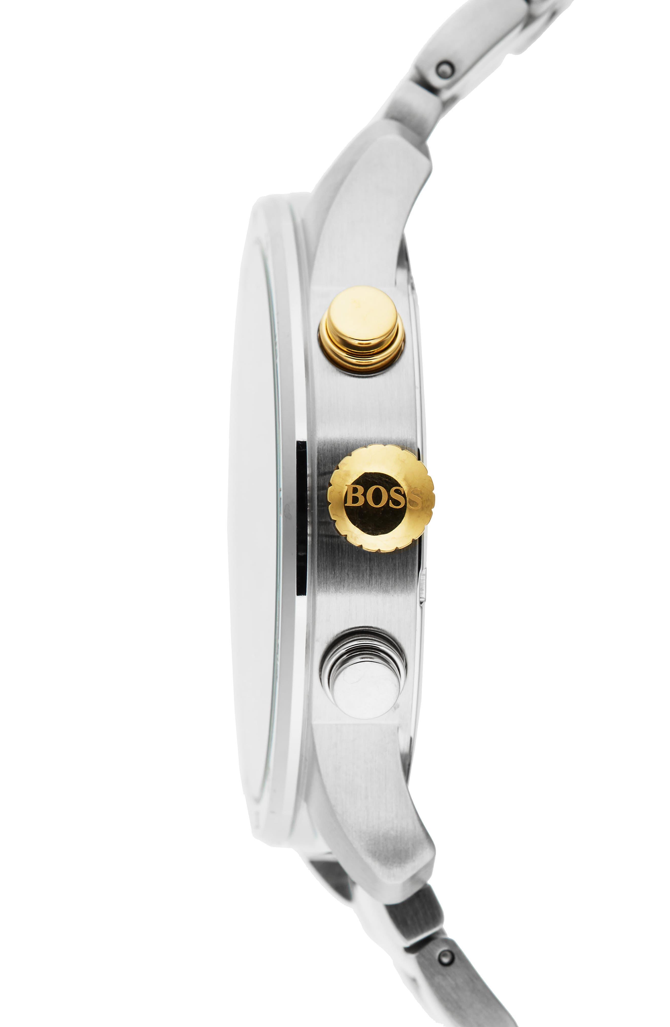 Professional Chronograph Bracelet Watch, 42mm,                             Alternate thumbnail 3, color,                             Black/ Stainless