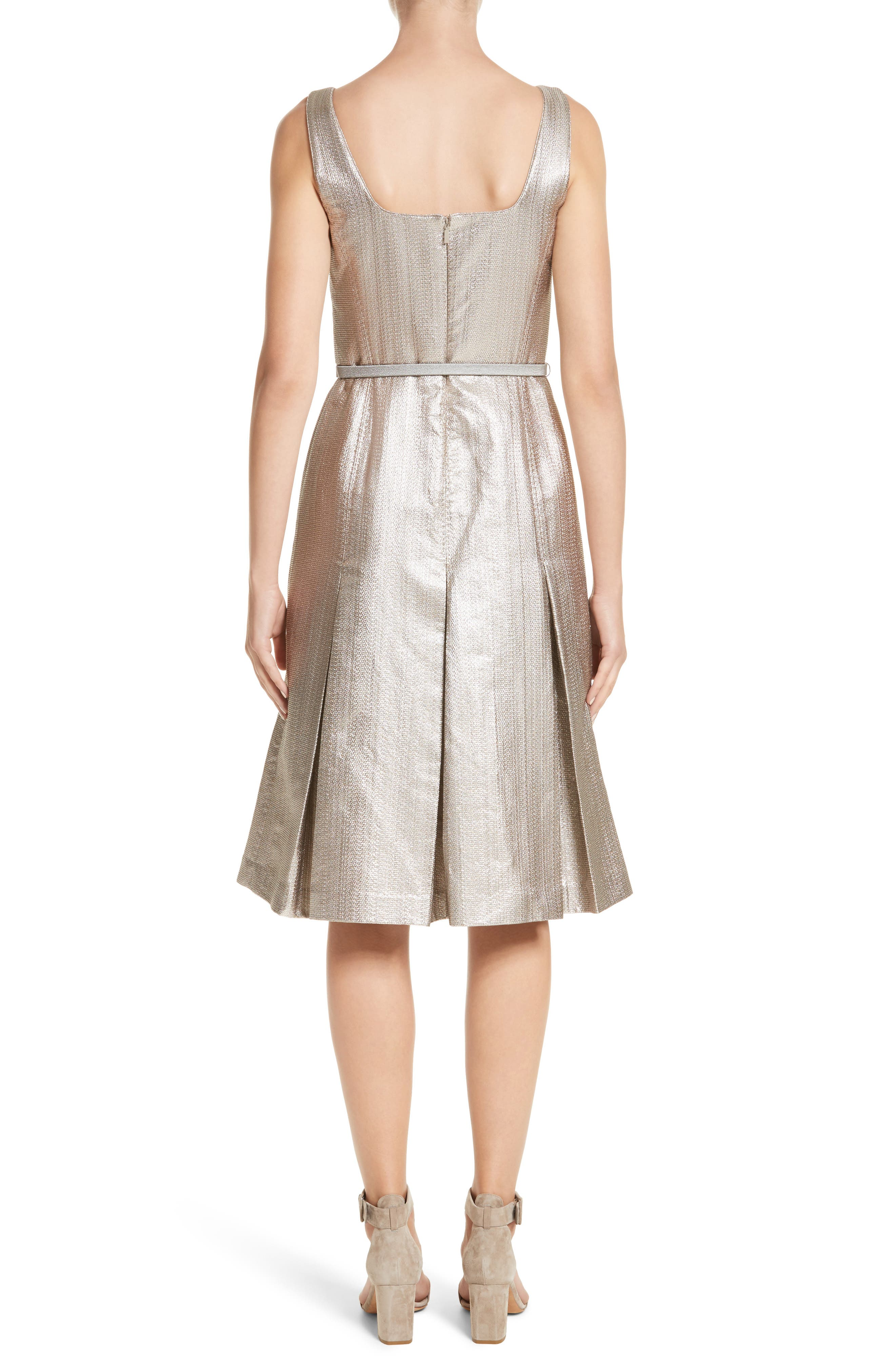 Lois Ceremonial Cloth Dress,                             Alternate thumbnail 2, color,                             Oyster Metallic