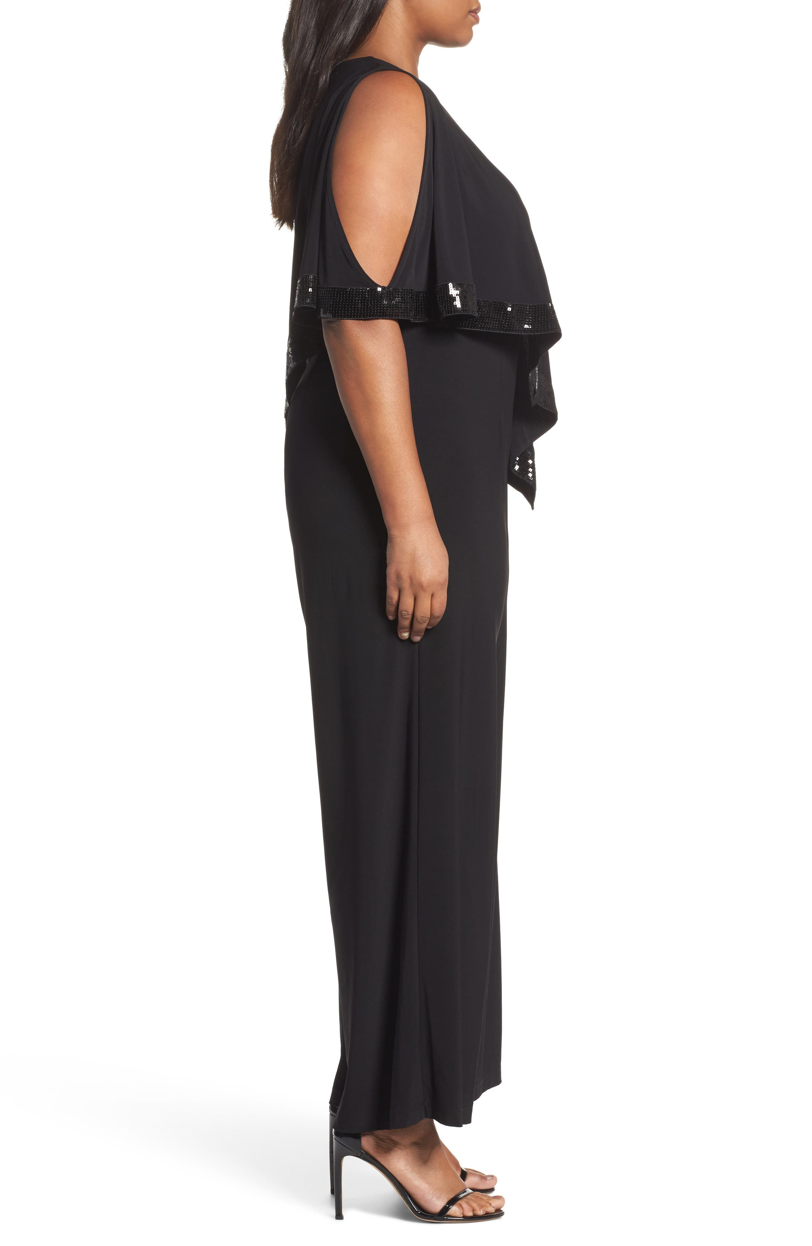 Alternate Image 3  - Adrianna Papell Matte Jersey Capelet Jumpsuit (Plus Size)