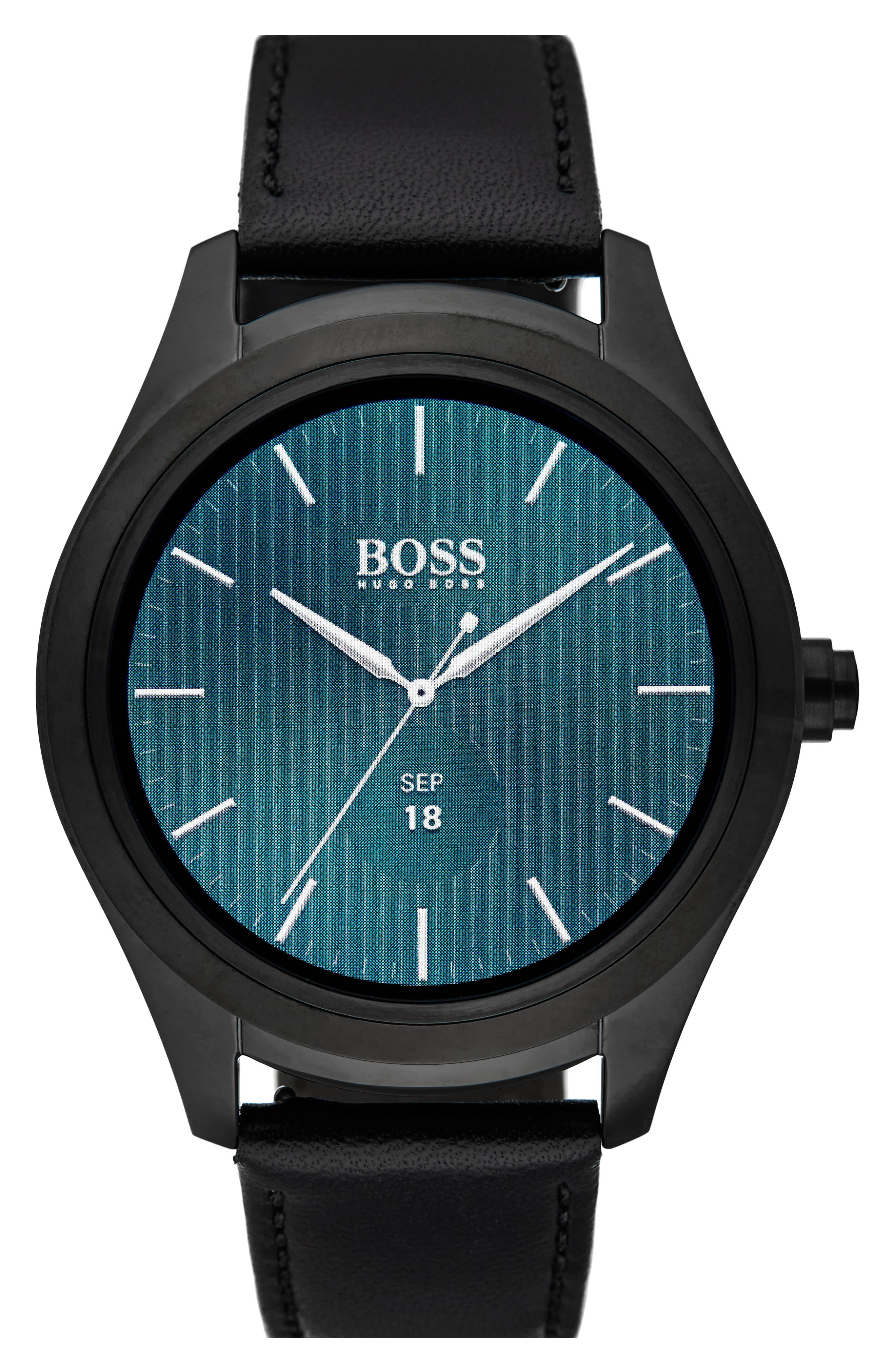 BOSS Touch Leather Strap Smart Watch Set