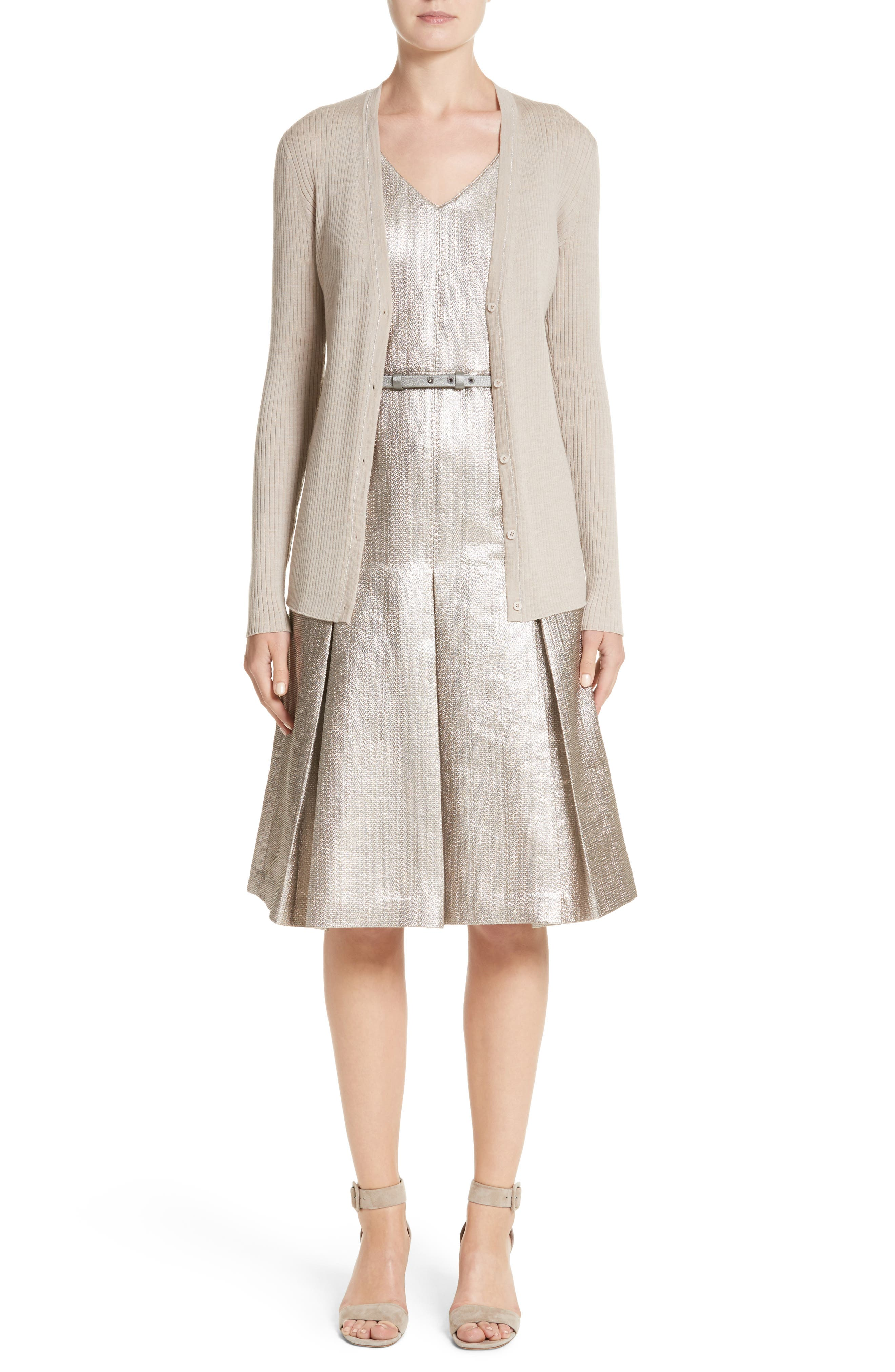 Lois Ceremonial Cloth Dress,                             Alternate thumbnail 7, color,                             Oyster Metallic