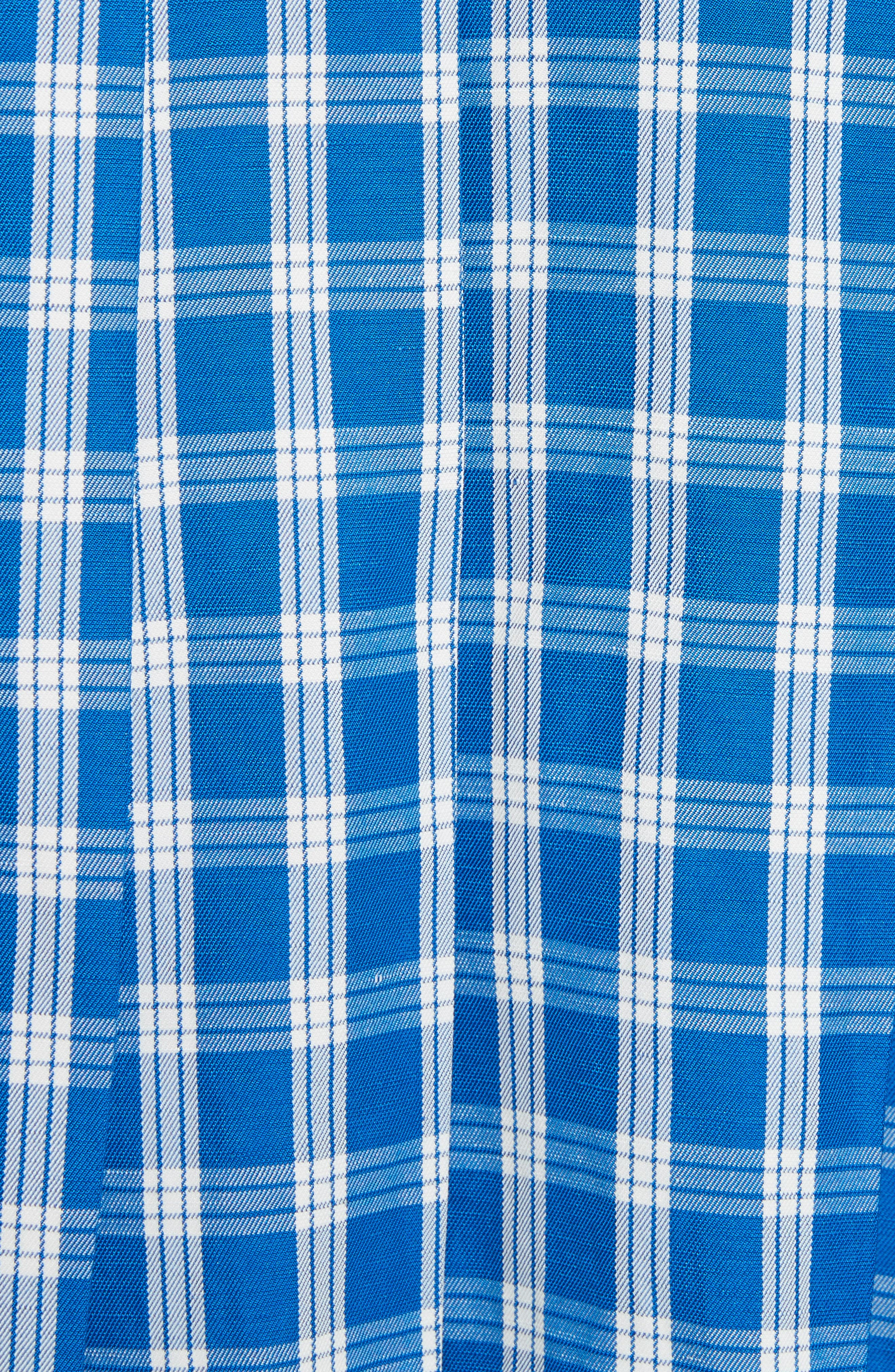 Plaid Balloon Sleeve Combo Hoodie,                             Alternate thumbnail 5, color,                             Navy X Blue Check