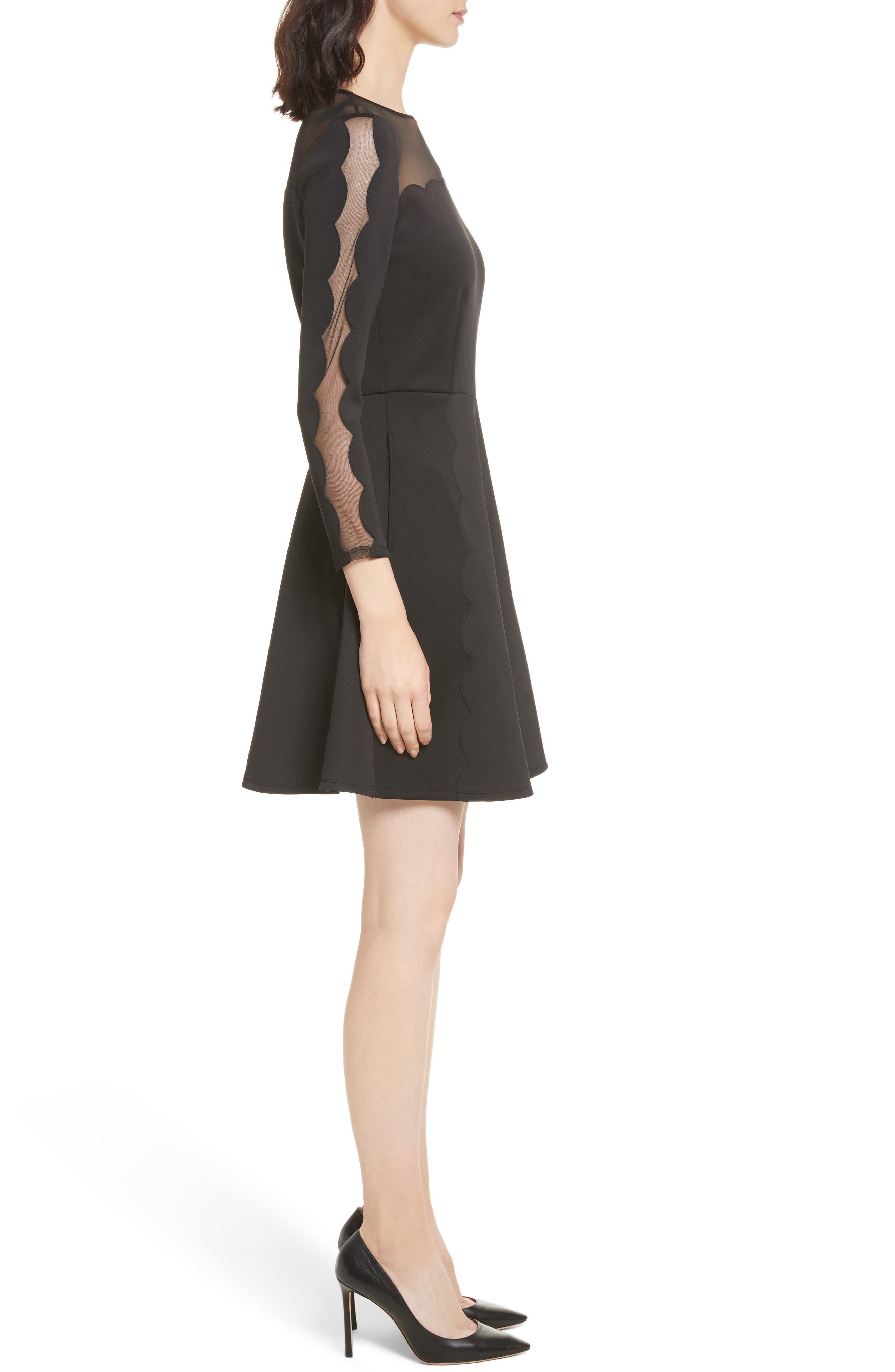 Kikoh Mesh Panel Skater Dress,                             Alternate thumbnail 3, color,                             Black