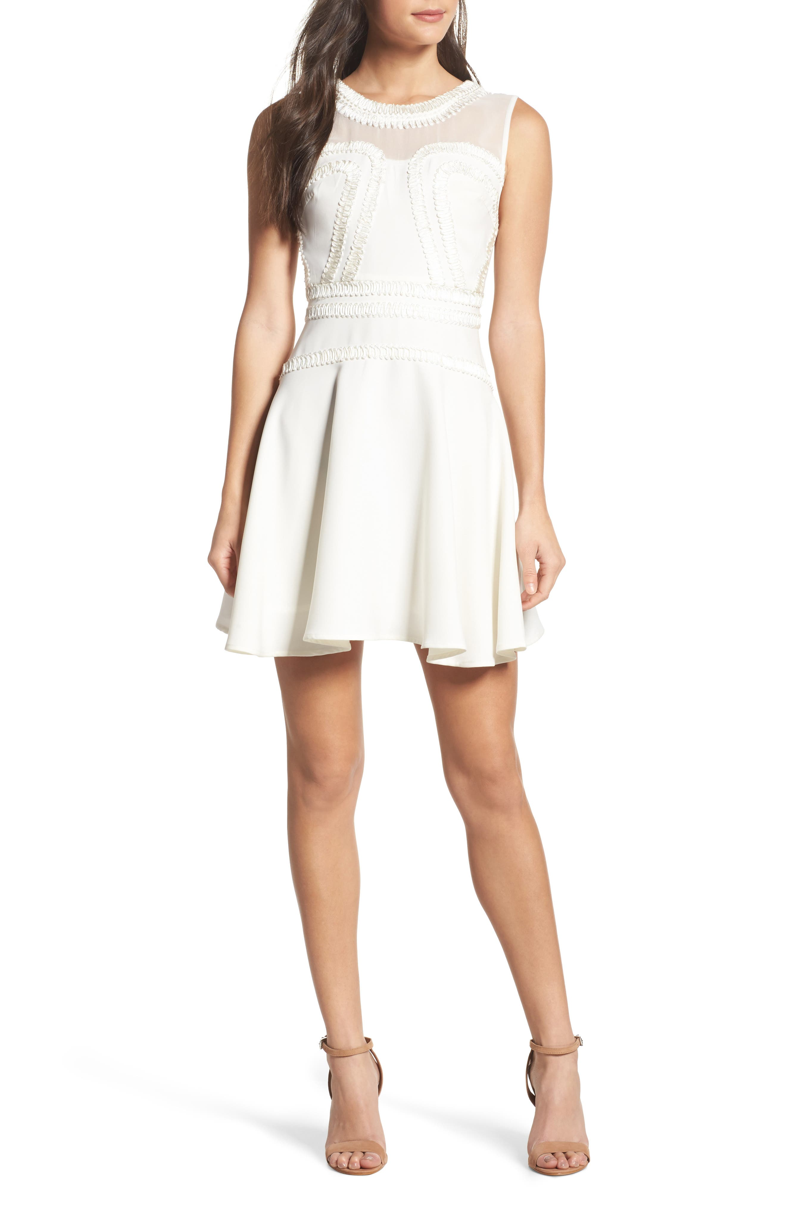 Aviana Fit & Flare Dress,                         Main,                         color, Off White