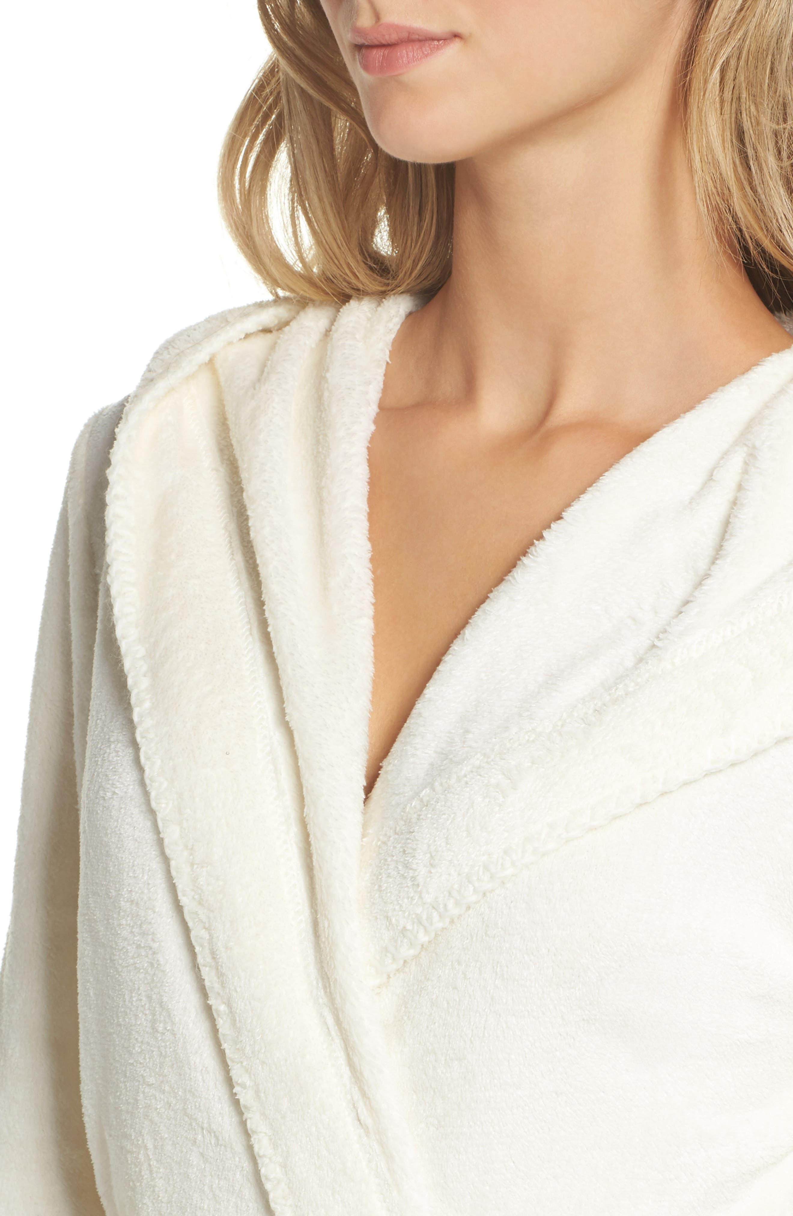 Starry Night Plush Short Robe,                             Alternate thumbnail 4, color,                             Ivory Egret
