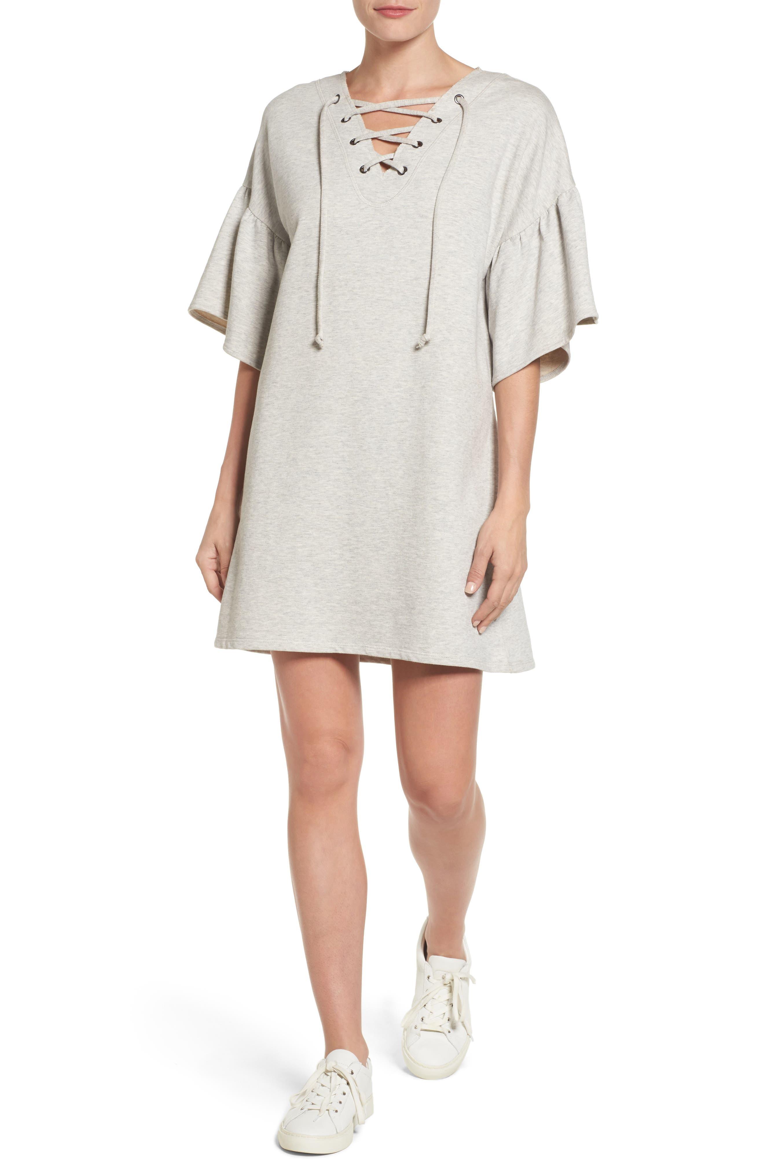 Mariska Fleece Knit Dress,                             Main thumbnail 1, color,                             Heather Sterling