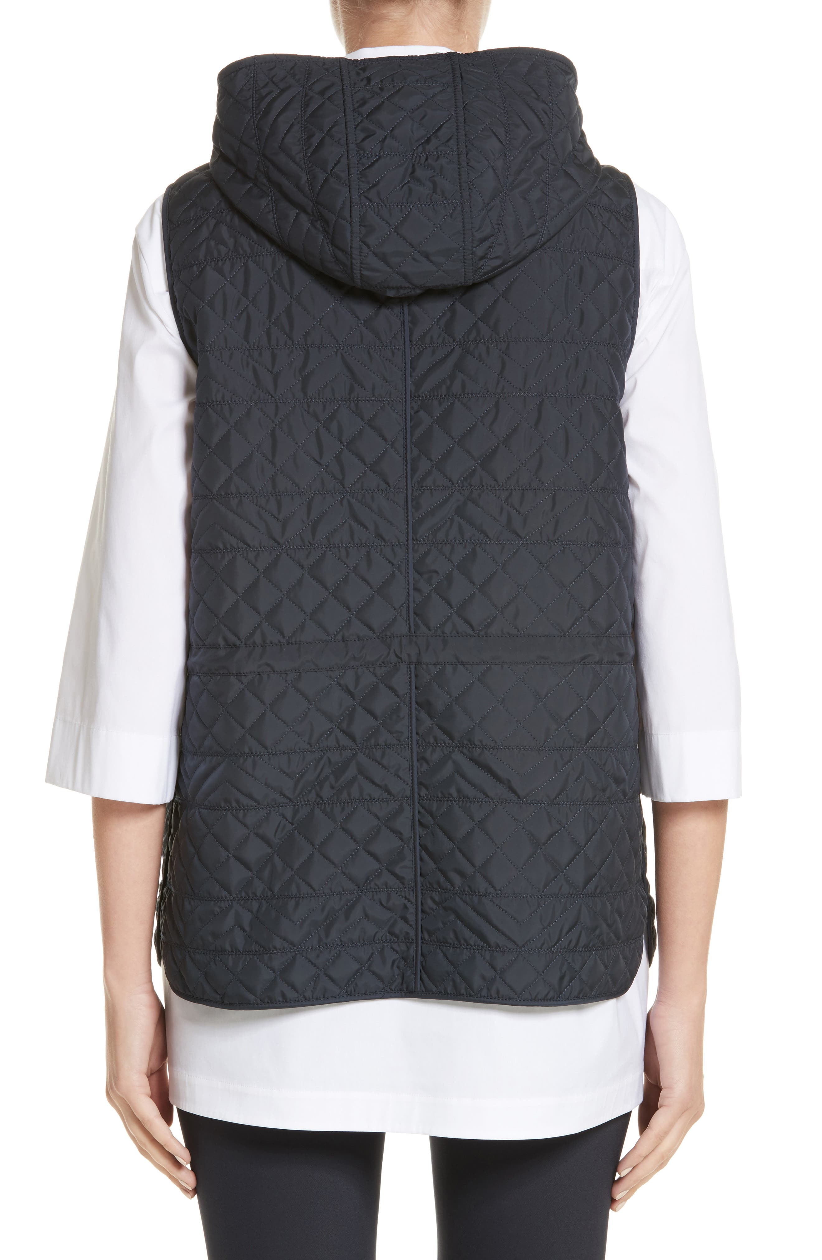 Ginny Reversible Hooded Vest,                             Alternate thumbnail 3, color,                             Ink/ Nickel Melange