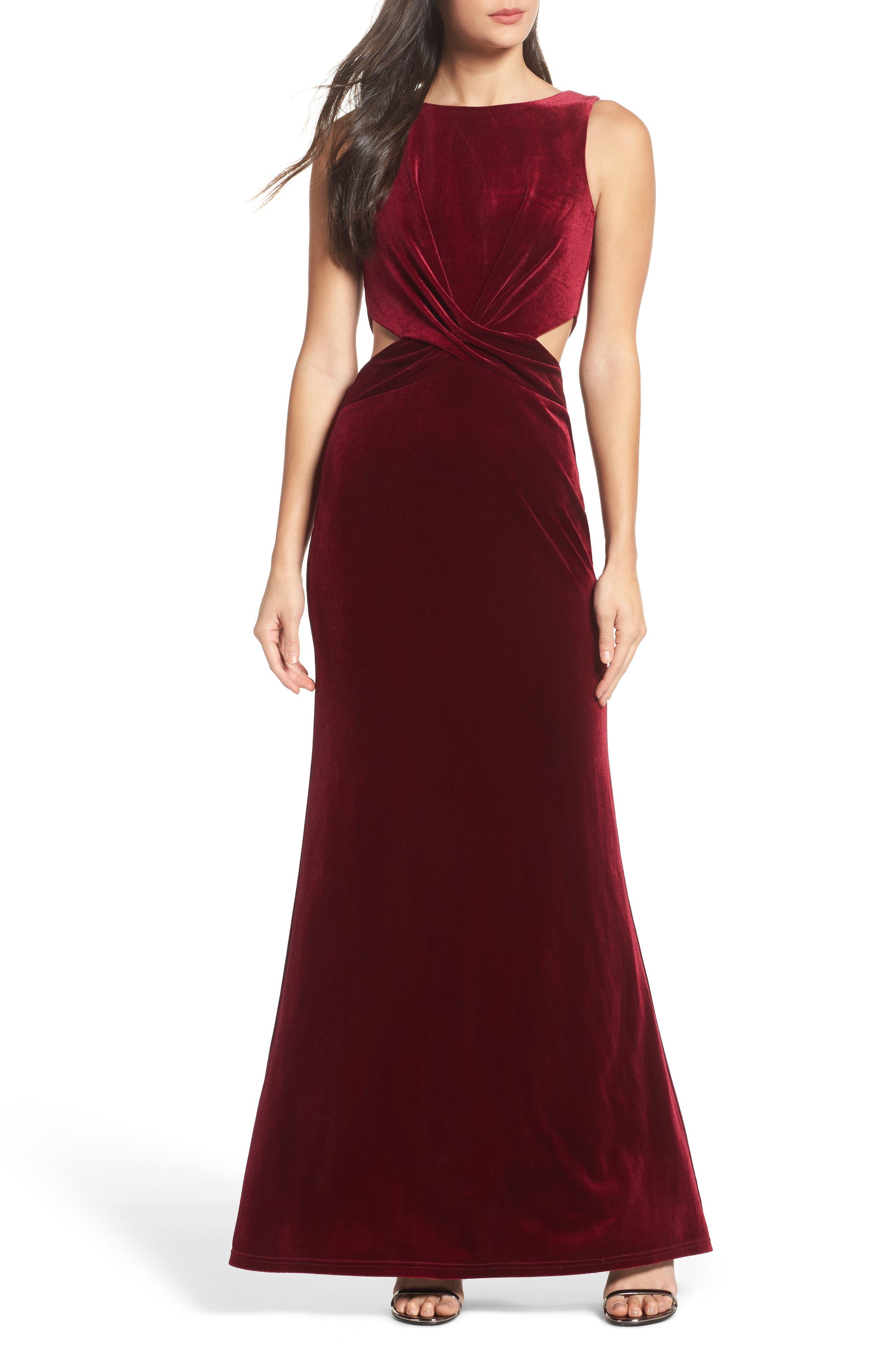Reach Out Velvet Maxi Dress,                             Main thumbnail 1, color,                             Burgundy