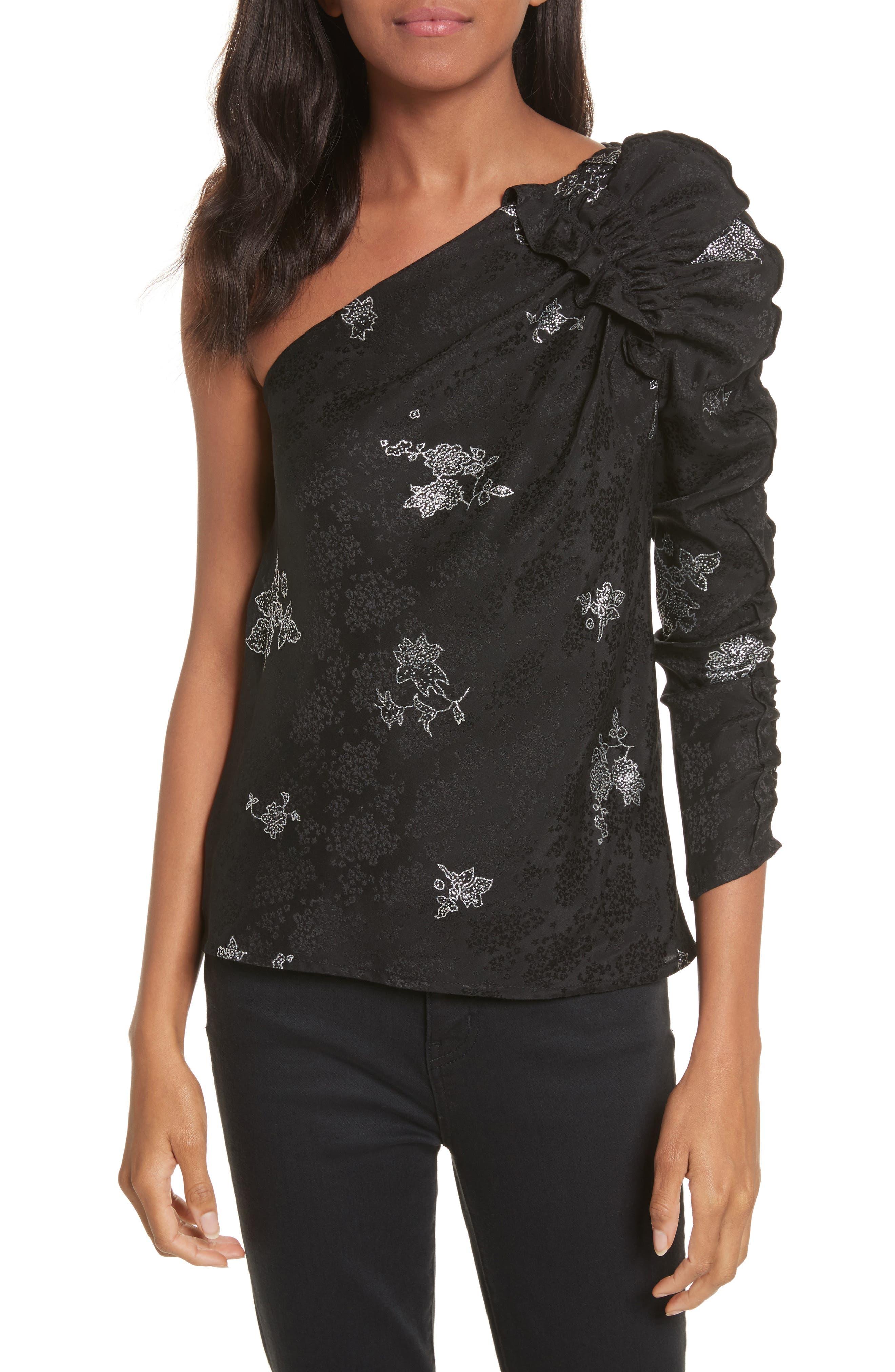 One-Shoulder Glitter Silk Top,                         Main,                         color, Black/ Silver