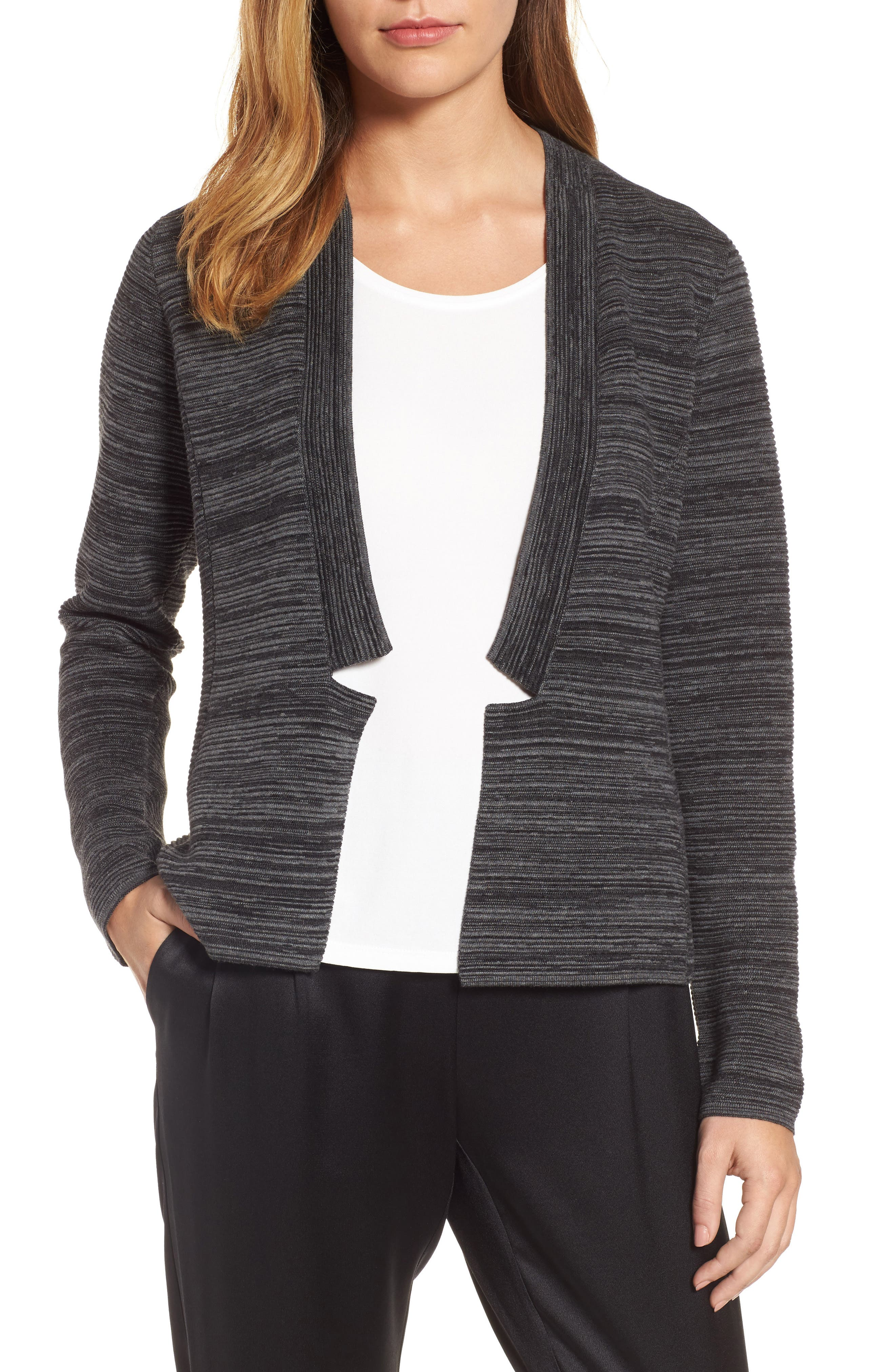 Tencel<sup>®</sup> Lyocell & Organic Cotton Cardigan,                         Main,                         color, Black