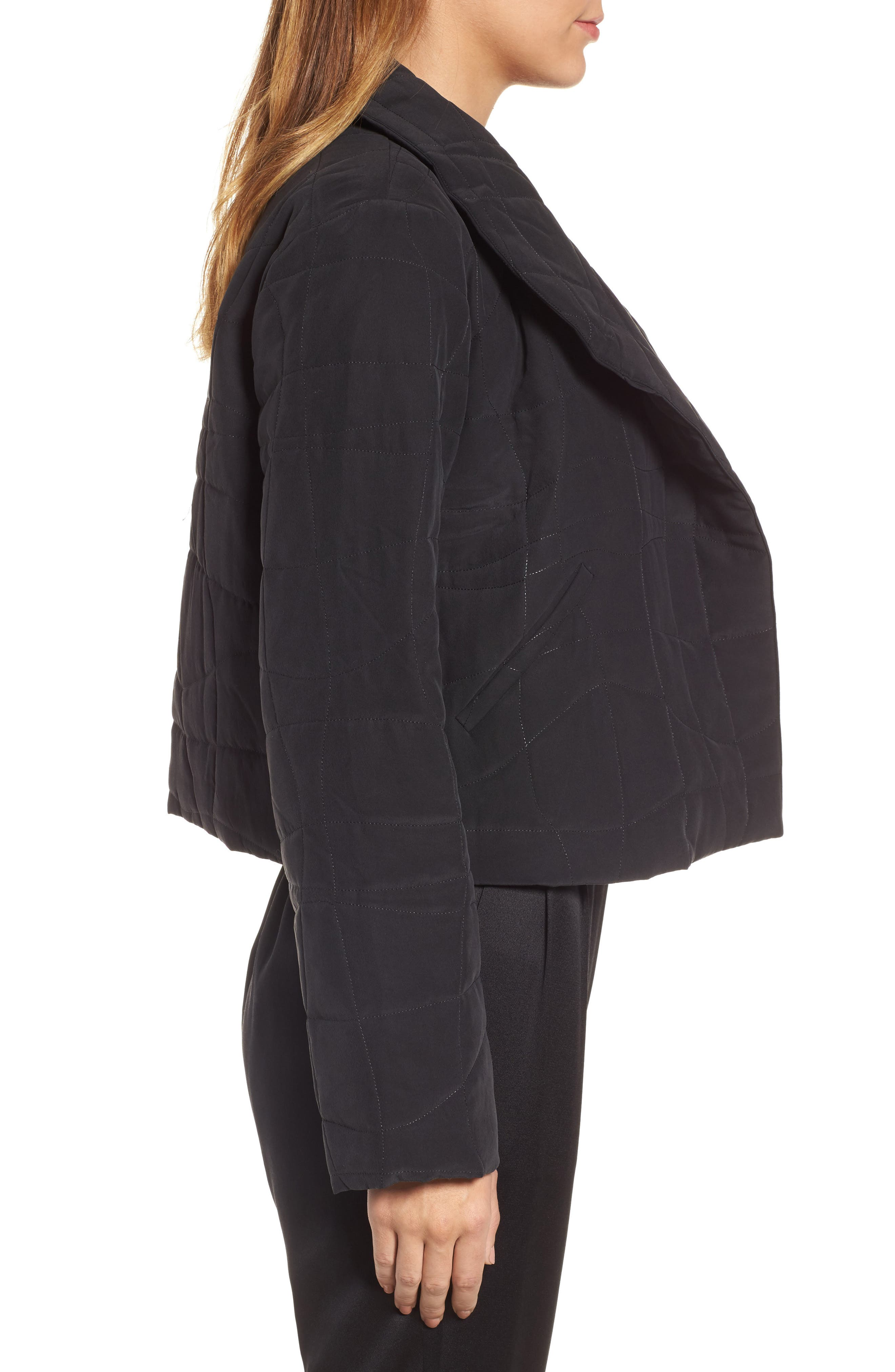 Quilted Silk Crop Jacket,                             Alternate thumbnail 3, color,                             Black
