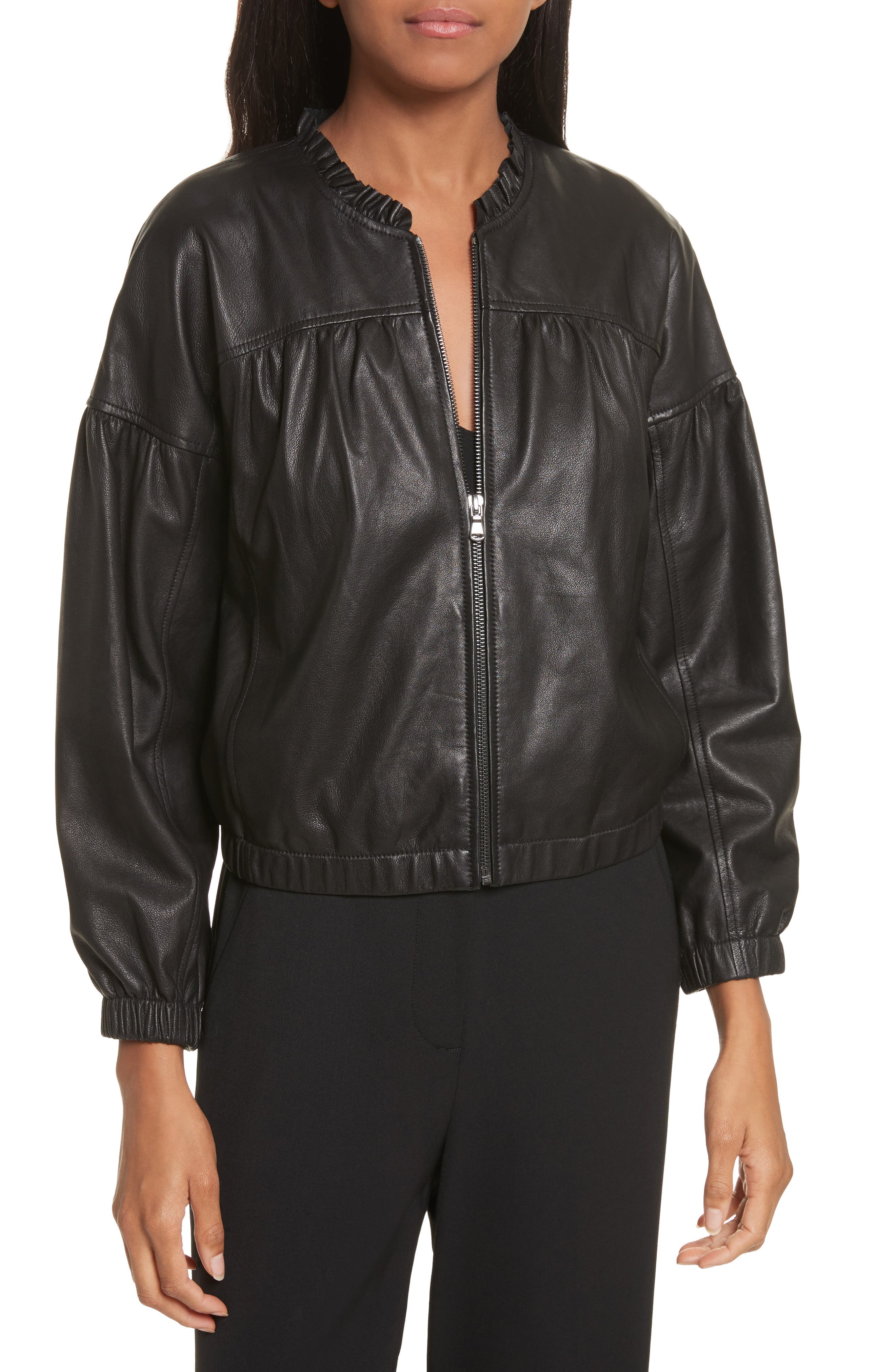Leather Bomber Jacket,                         Main,                         color, Black