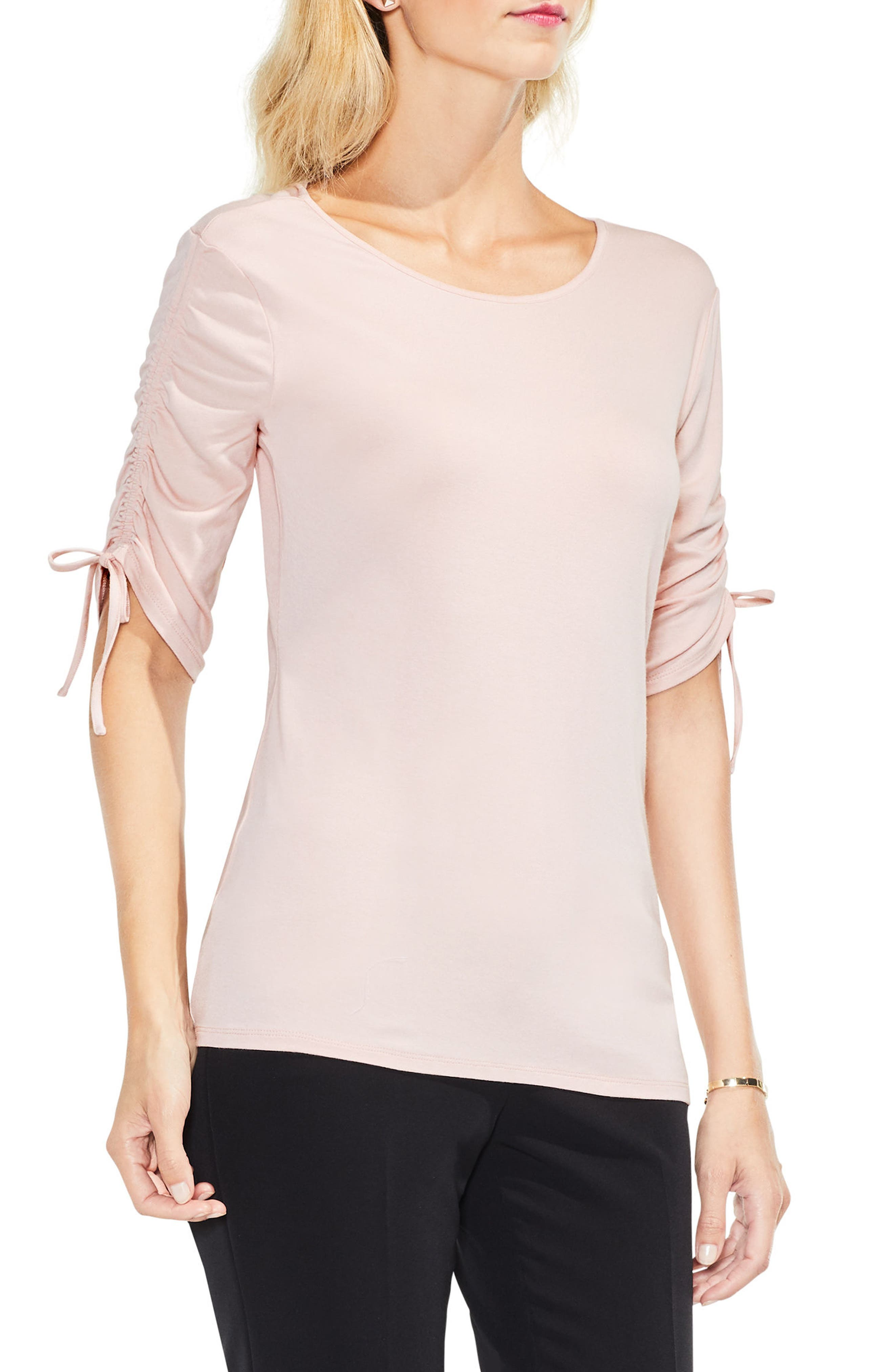 Ruched Elbow Sleeve Top,                         Main,                         color, Rose Buff