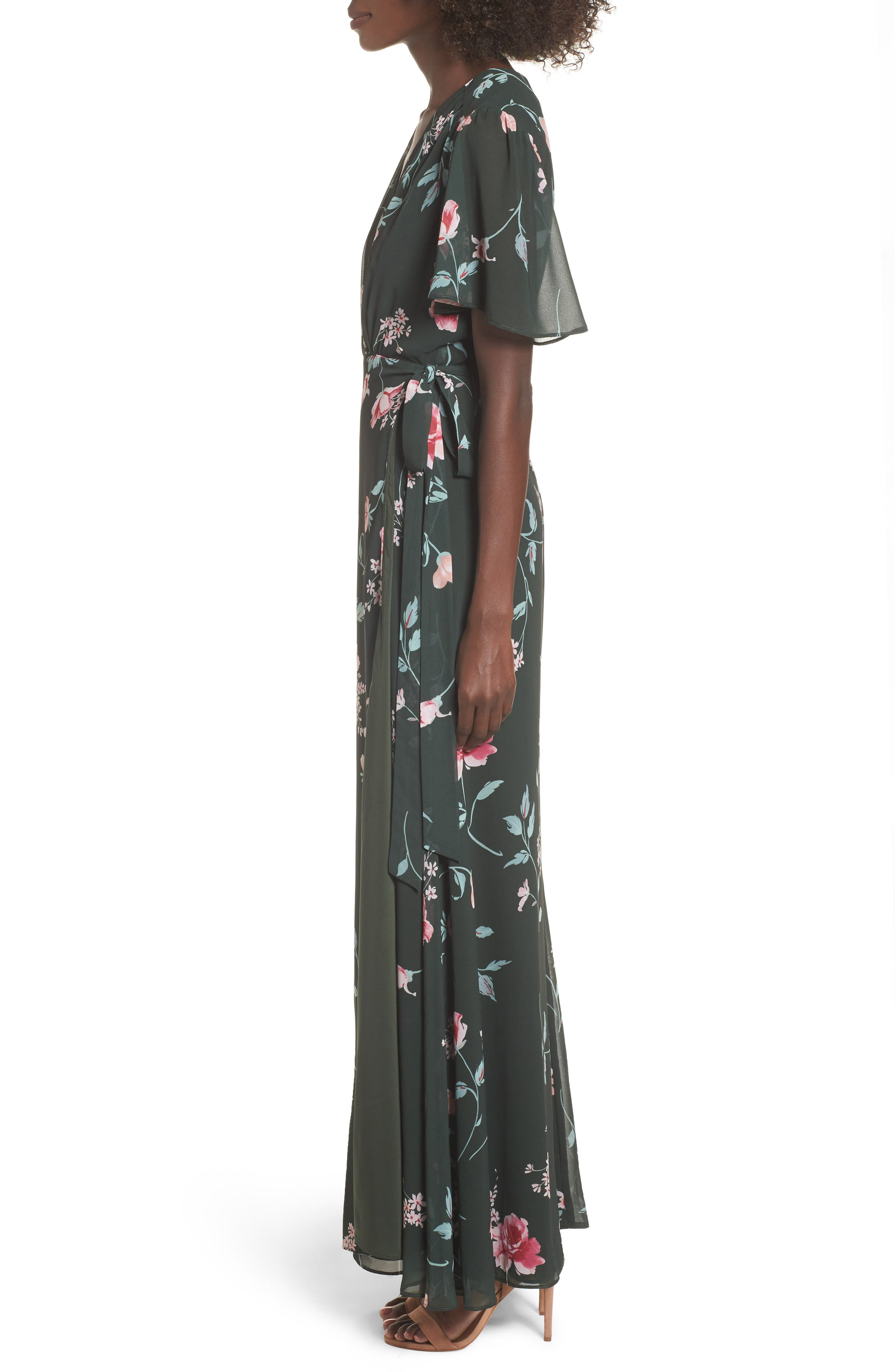 Plaza Kimono Maxi Dress,                             Alternate thumbnail 3, color,                             Evergreen Floral