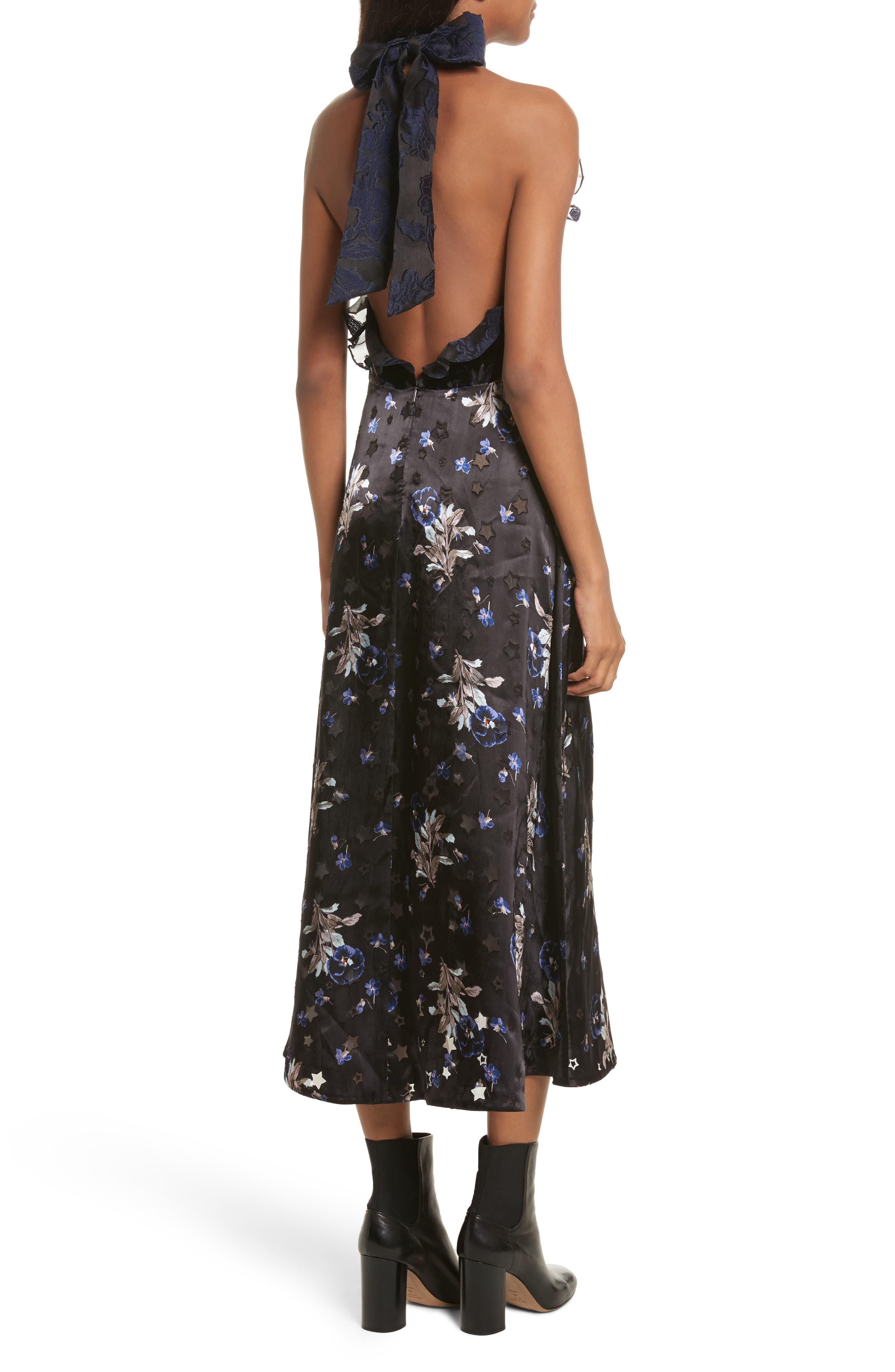 Violet Velvet Halter Dress,                             Alternate thumbnail 2, color,                             Black Combo