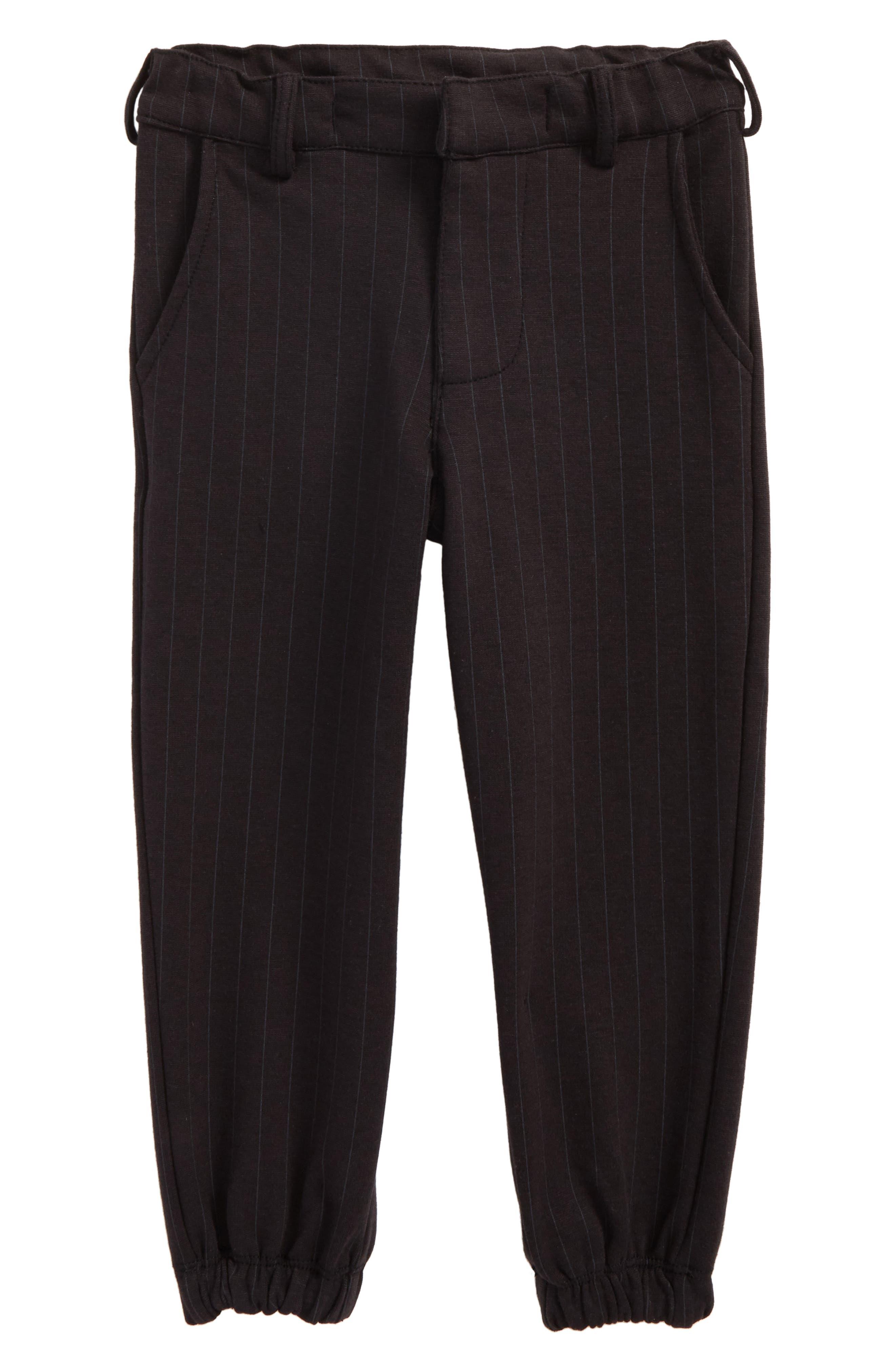 Pinstripe Jogger Pants,                             Main thumbnail 1, color,                             Black