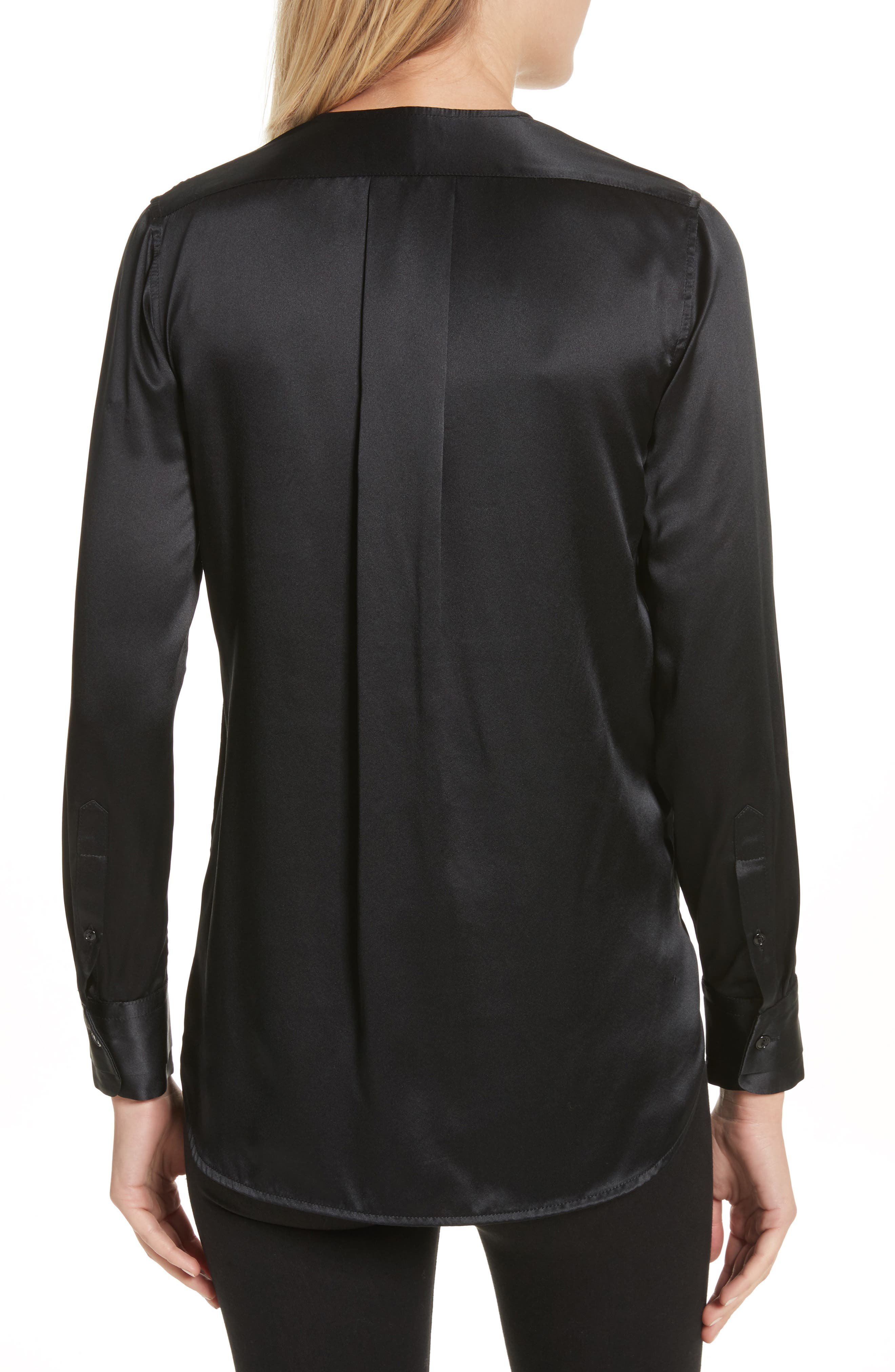 Victor Silk & Velvet Blouse,                             Alternate thumbnail 2, color,                             Black
