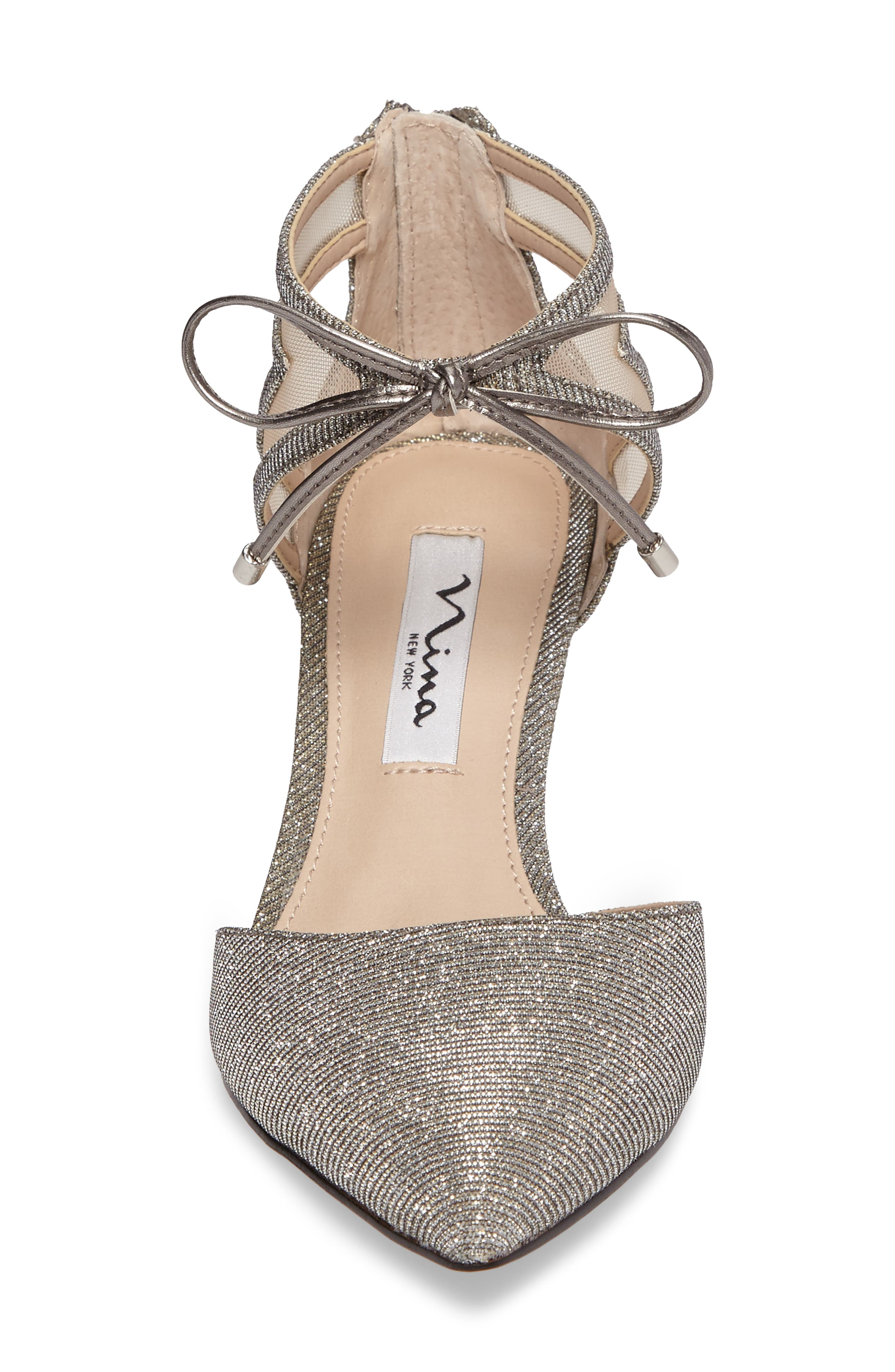 Talley Pointy Toe Pump,                             Alternate thumbnail 4, color,                             Steel/ Champ Metallic Fabric
