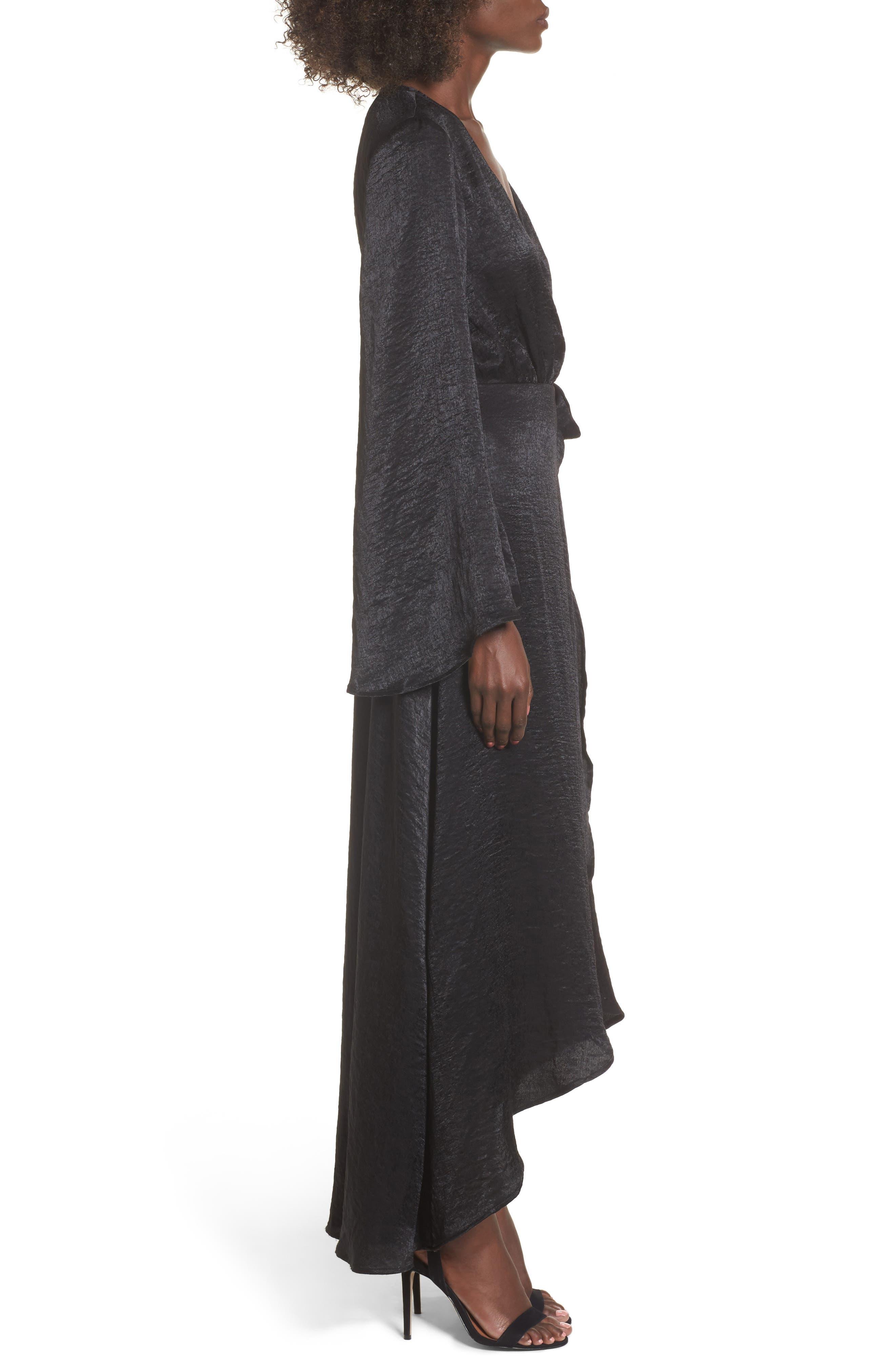 Anita Wrap Maxi Dress,                             Alternate thumbnail 3, color,                             Black Silky Satin