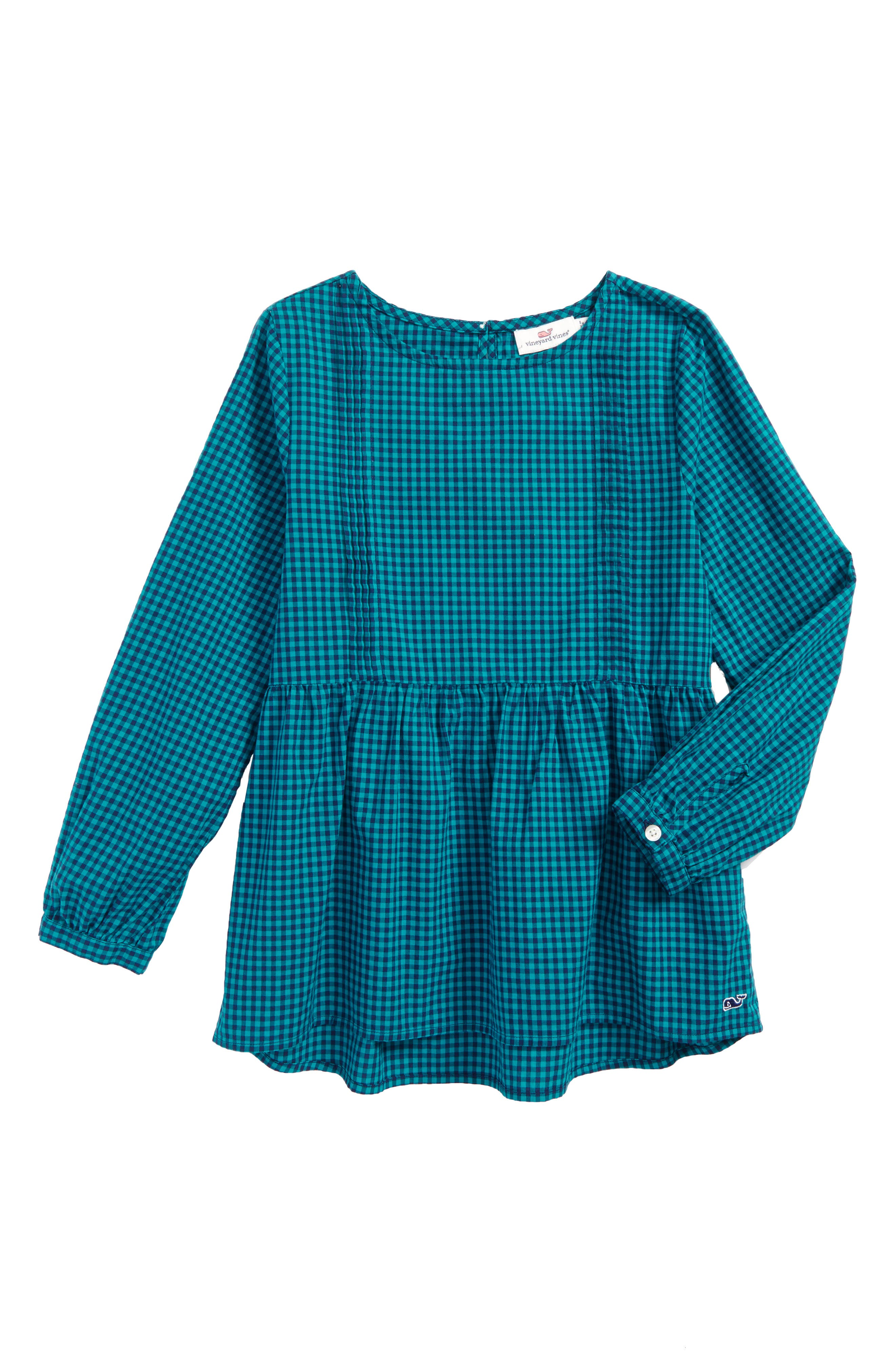 Gingham Woven Top,                         Main,                         color, Turquois Sea