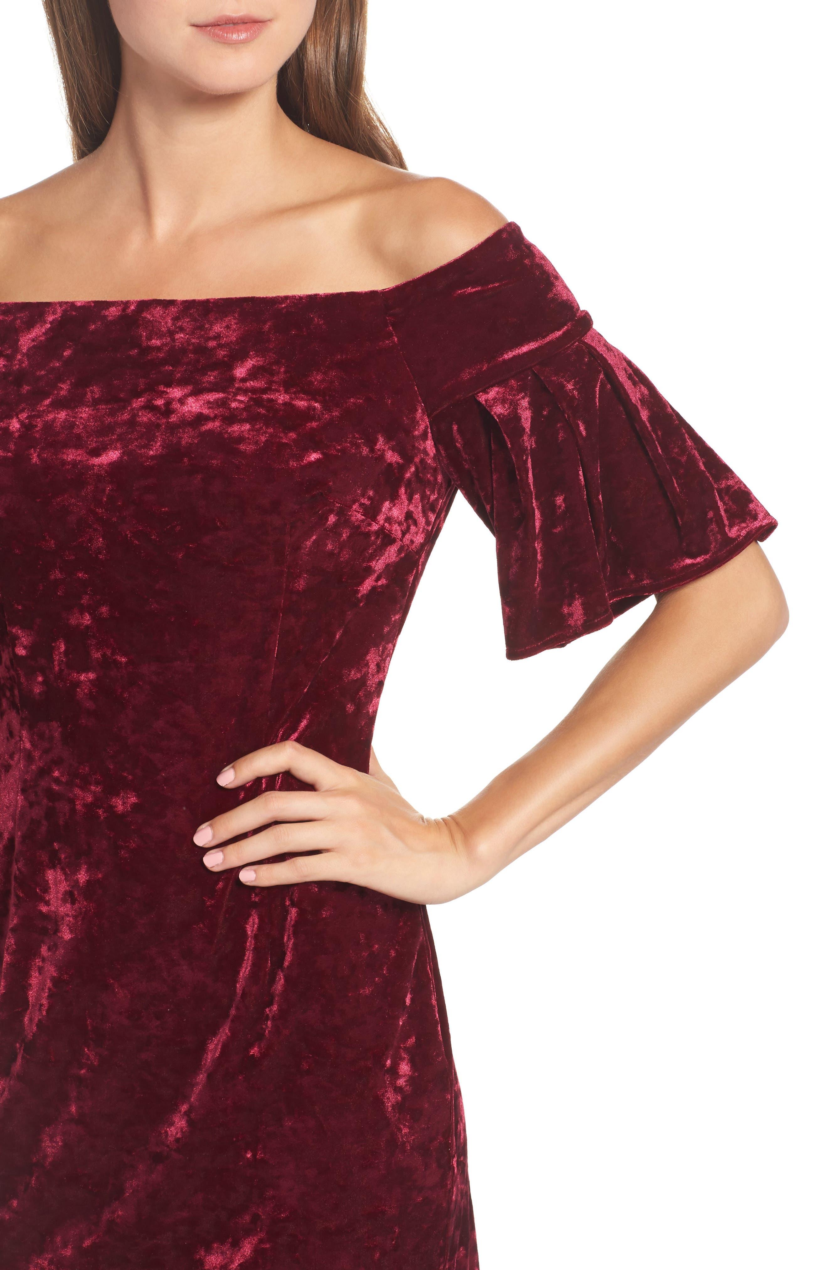 Off the Shoulder Velvet Dress,                             Alternate thumbnail 4, color,                             Wine