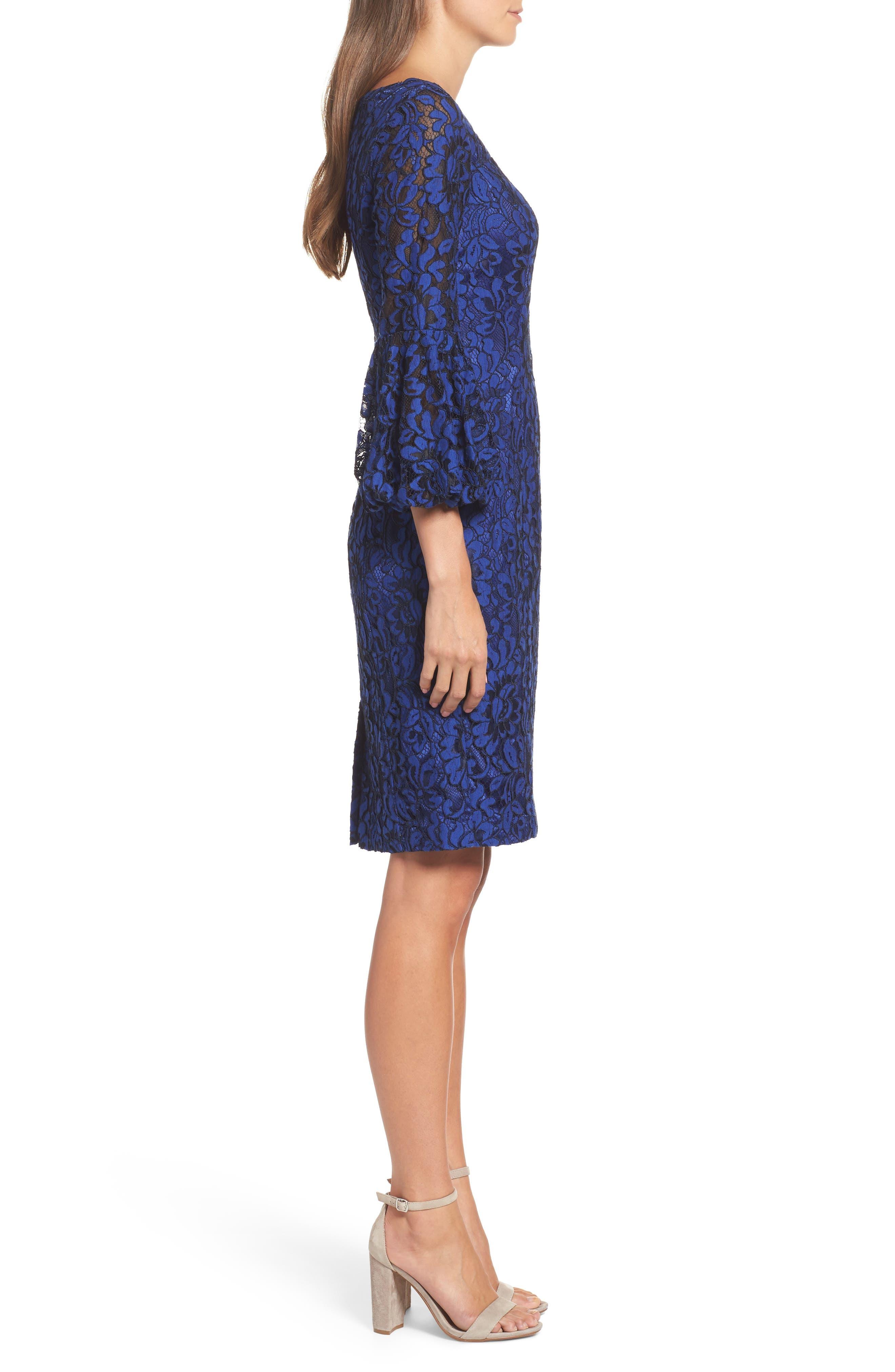 Bell Sleeve Lace Sheath Dress,                             Alternate thumbnail 3, color,                             Cobalt