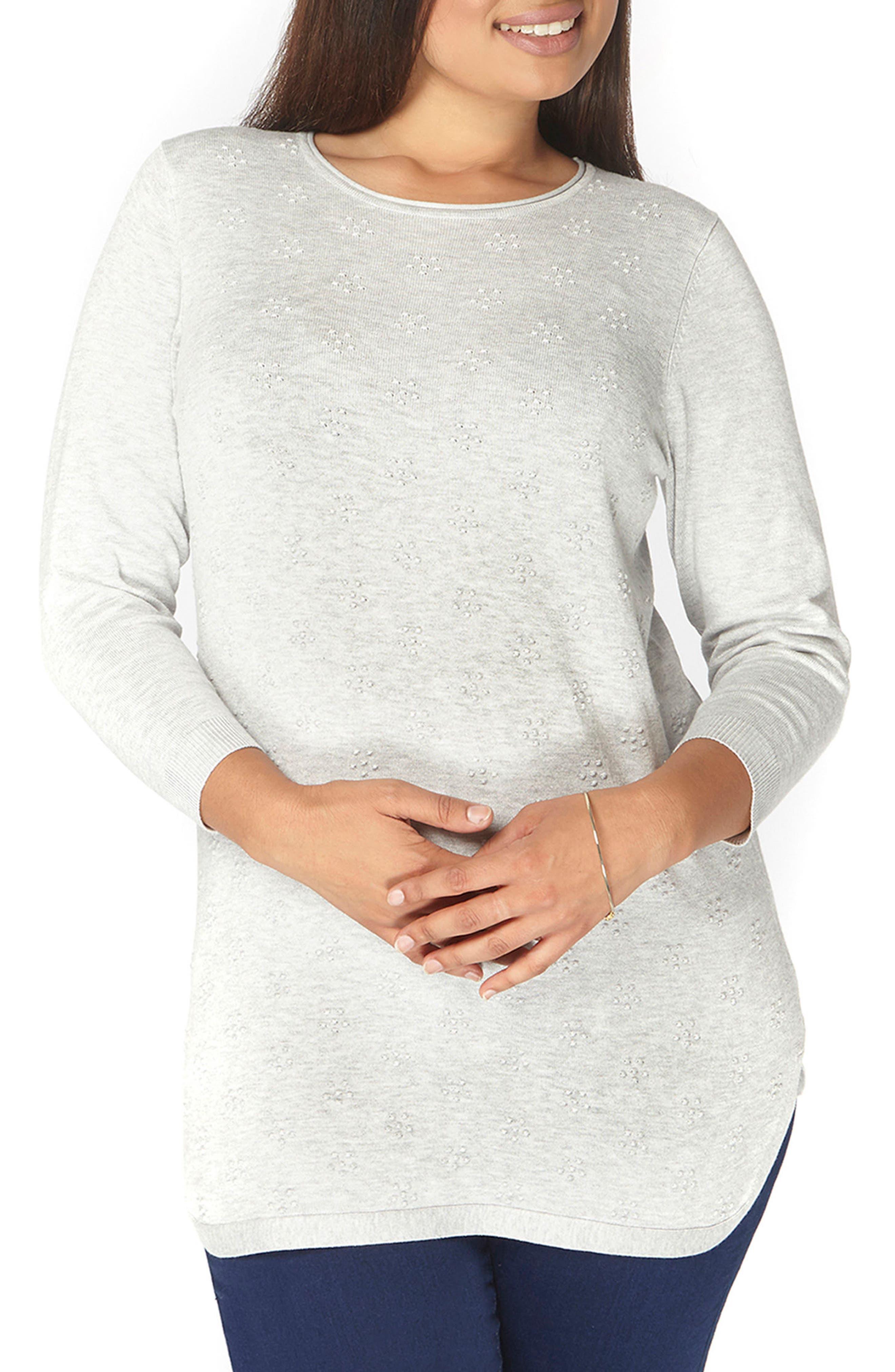 Dot Texture Sweater,                         Main,                         color, Grey