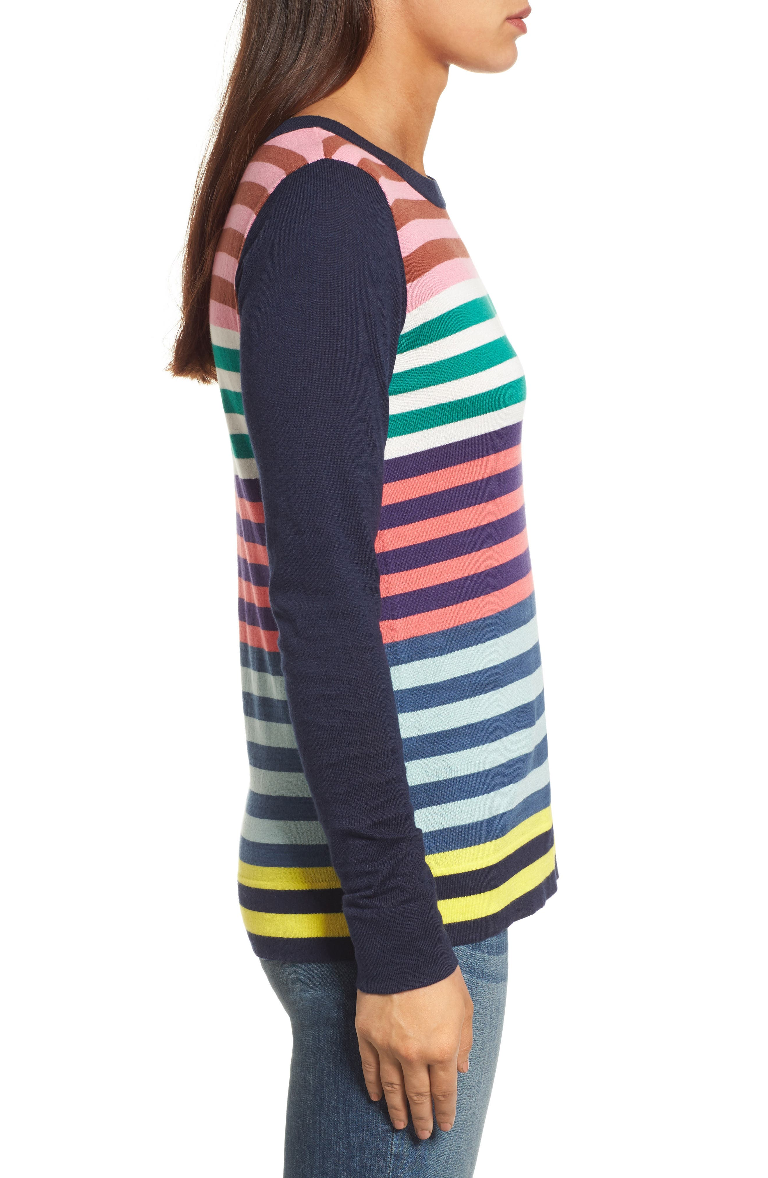 Colorblock Stripe Sweater,                             Alternate thumbnail 3, color,                             Coral Multi Stripe