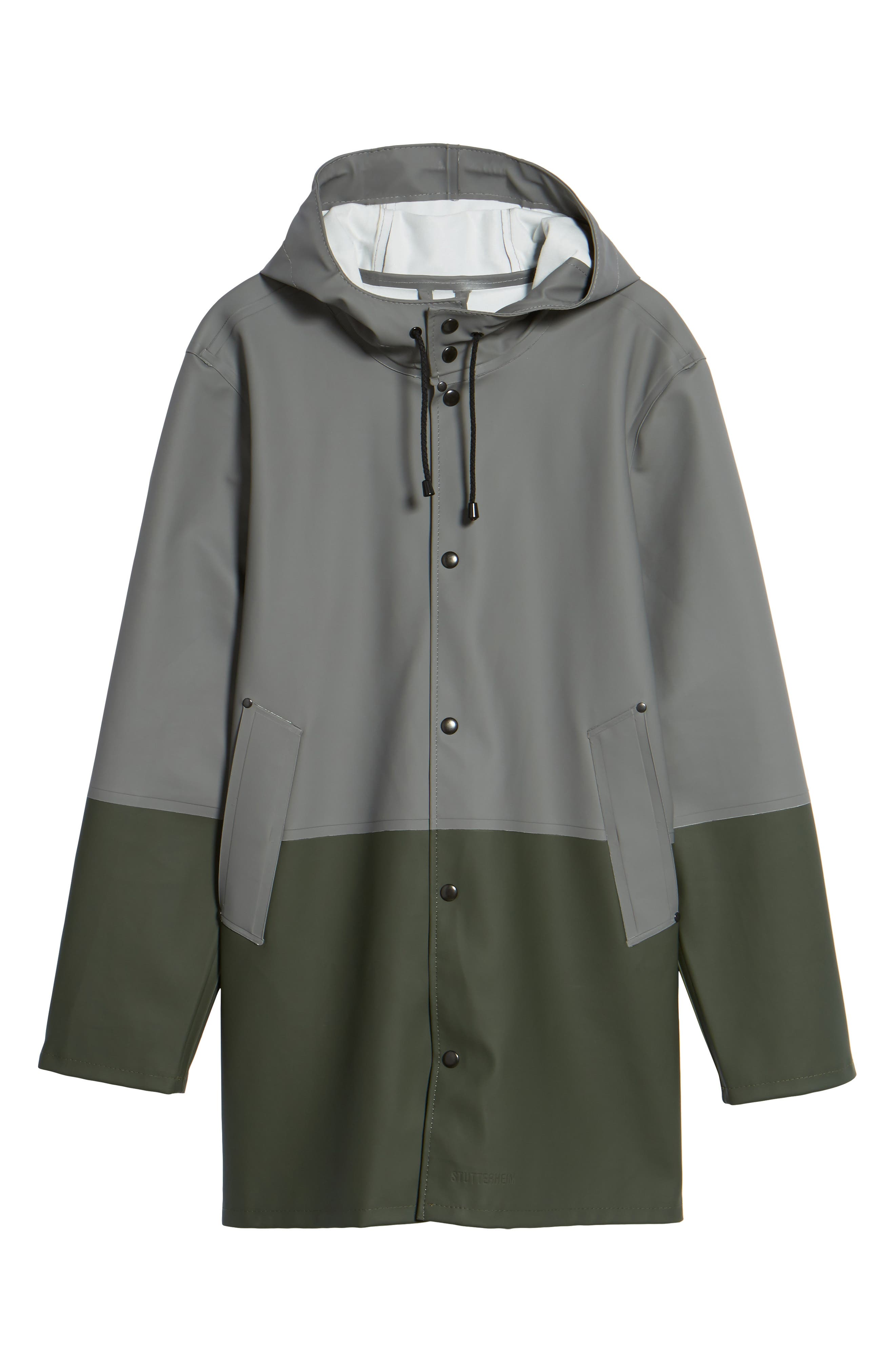 Stockholm Colorblock Waterproof Hooded Raincoat,                             Alternate thumbnail 6, color,                             Grey/ Green