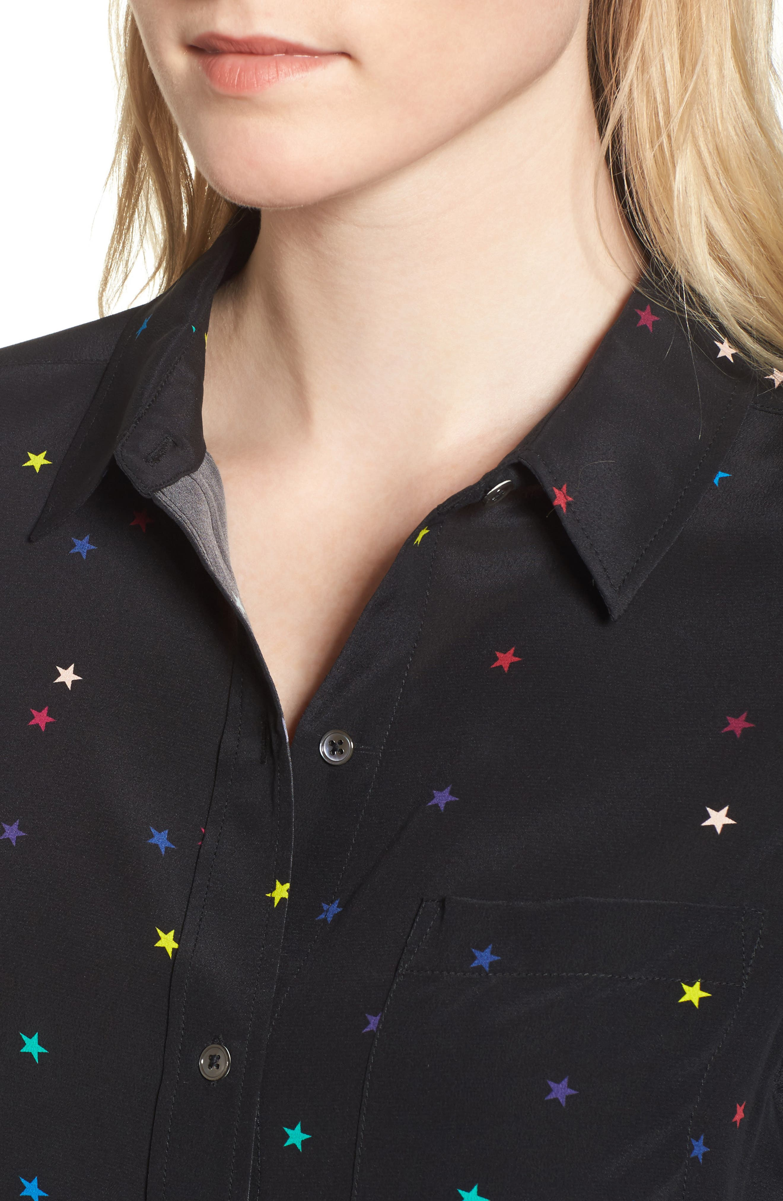 Kate Star Print Silk Blouse,                             Alternate thumbnail 4, color,                             Rainbow Stars/ Black