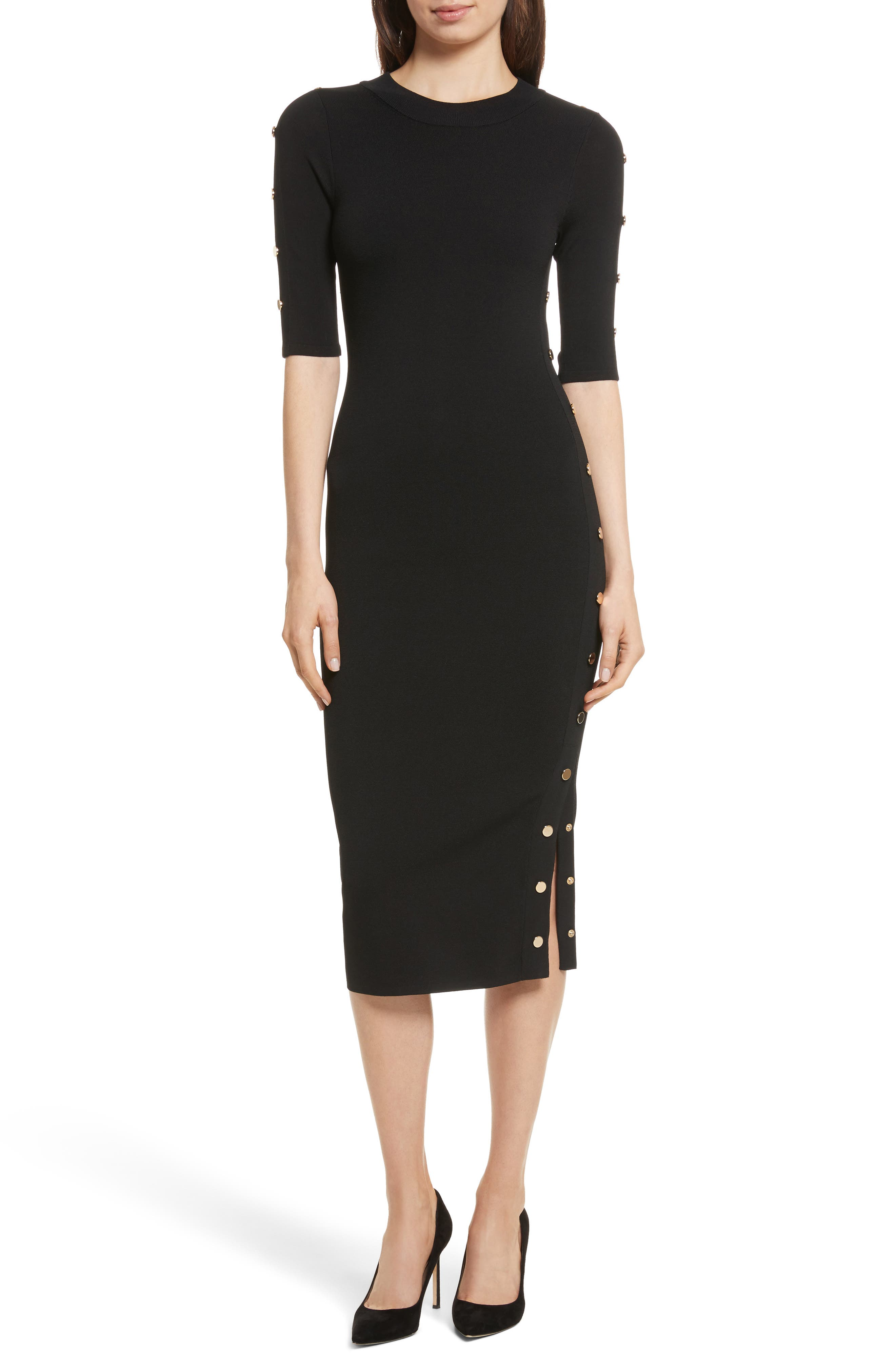 Joss Body-Con Knit Dress,                         Main,                         color, Black