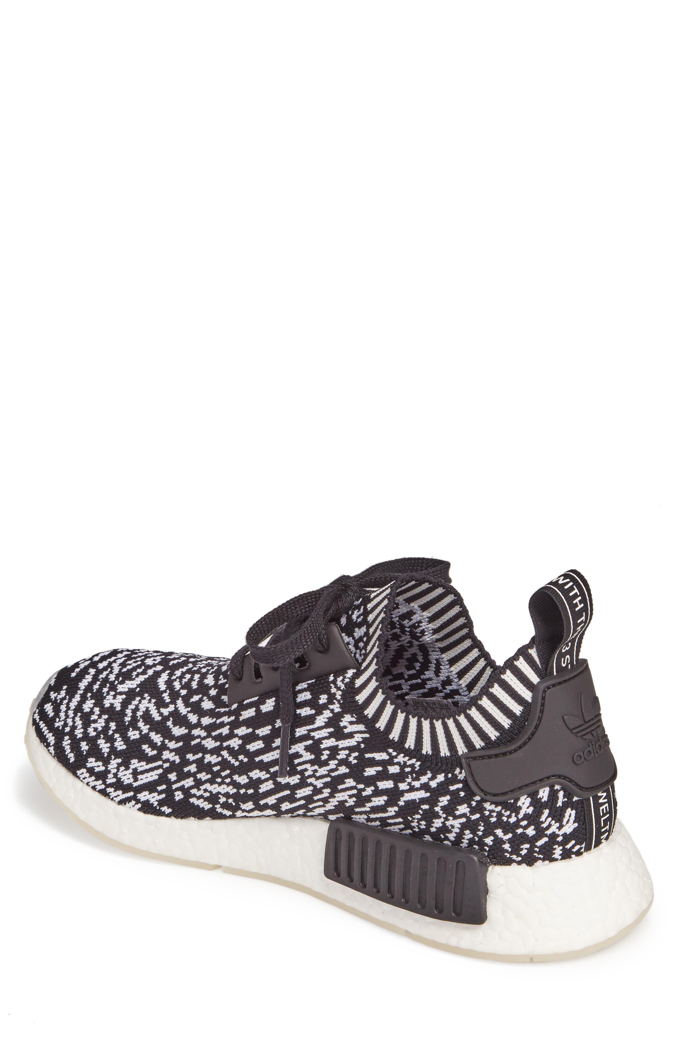 NMD R1 Primeknit Sneaker,                             Alternate thumbnail 2, color,                             Core Black/ Core Black/ White