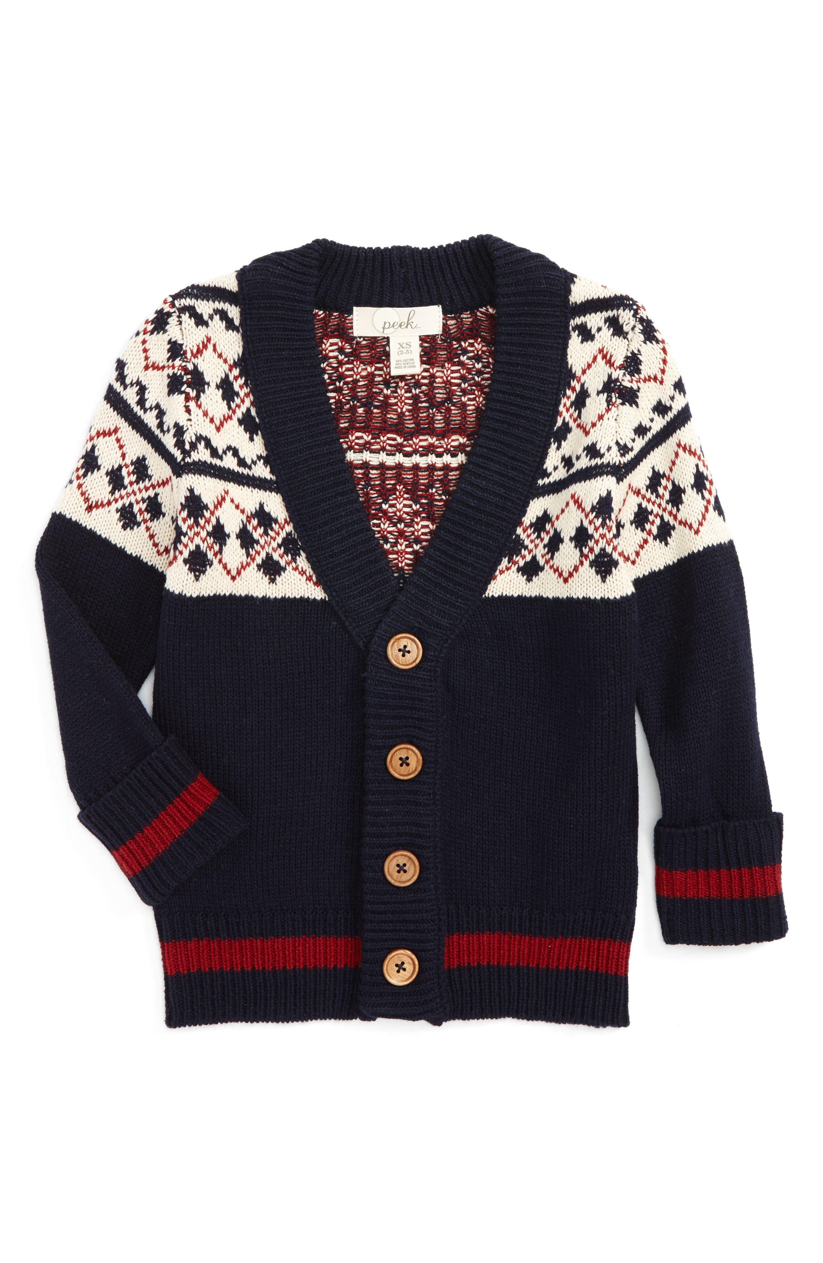 Mackai Pattern Cardigan Sweater,                         Main,                         color, Navy