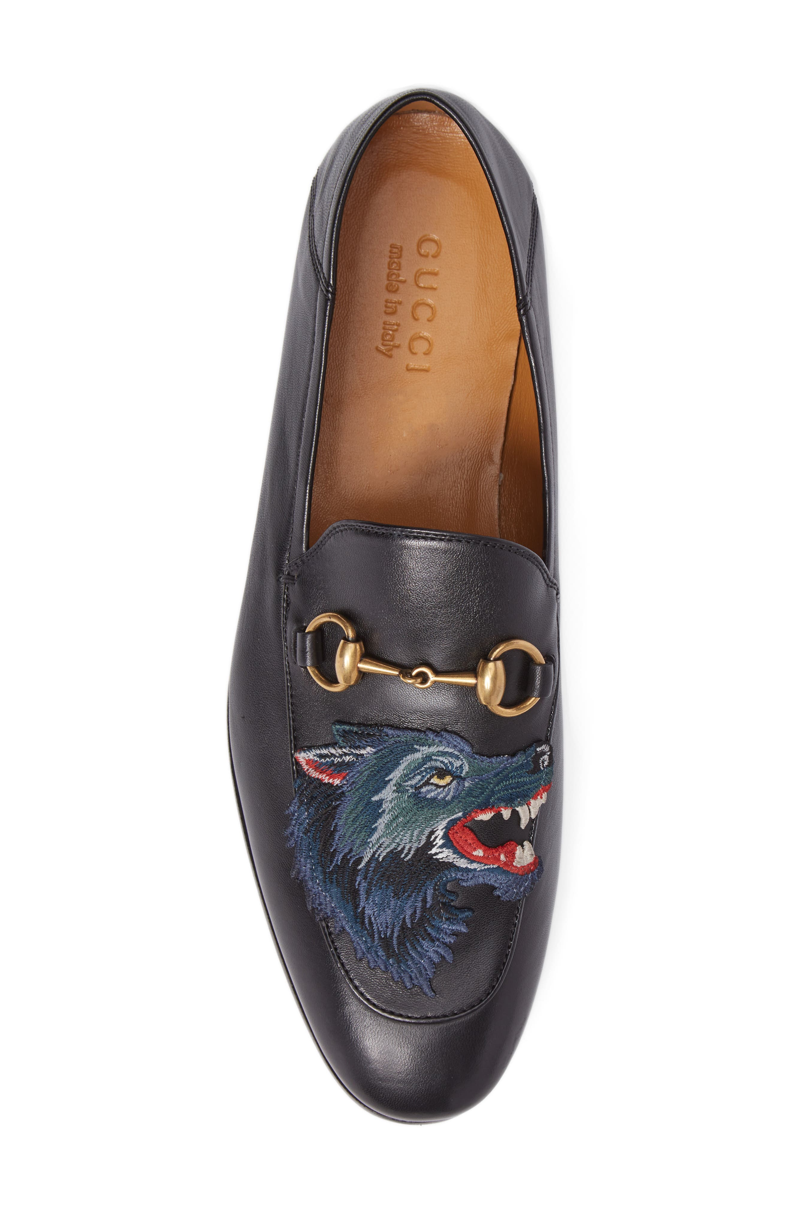 Wolf Leather Loafer,                             Alternate thumbnail 5, color,                             Black/ Blue