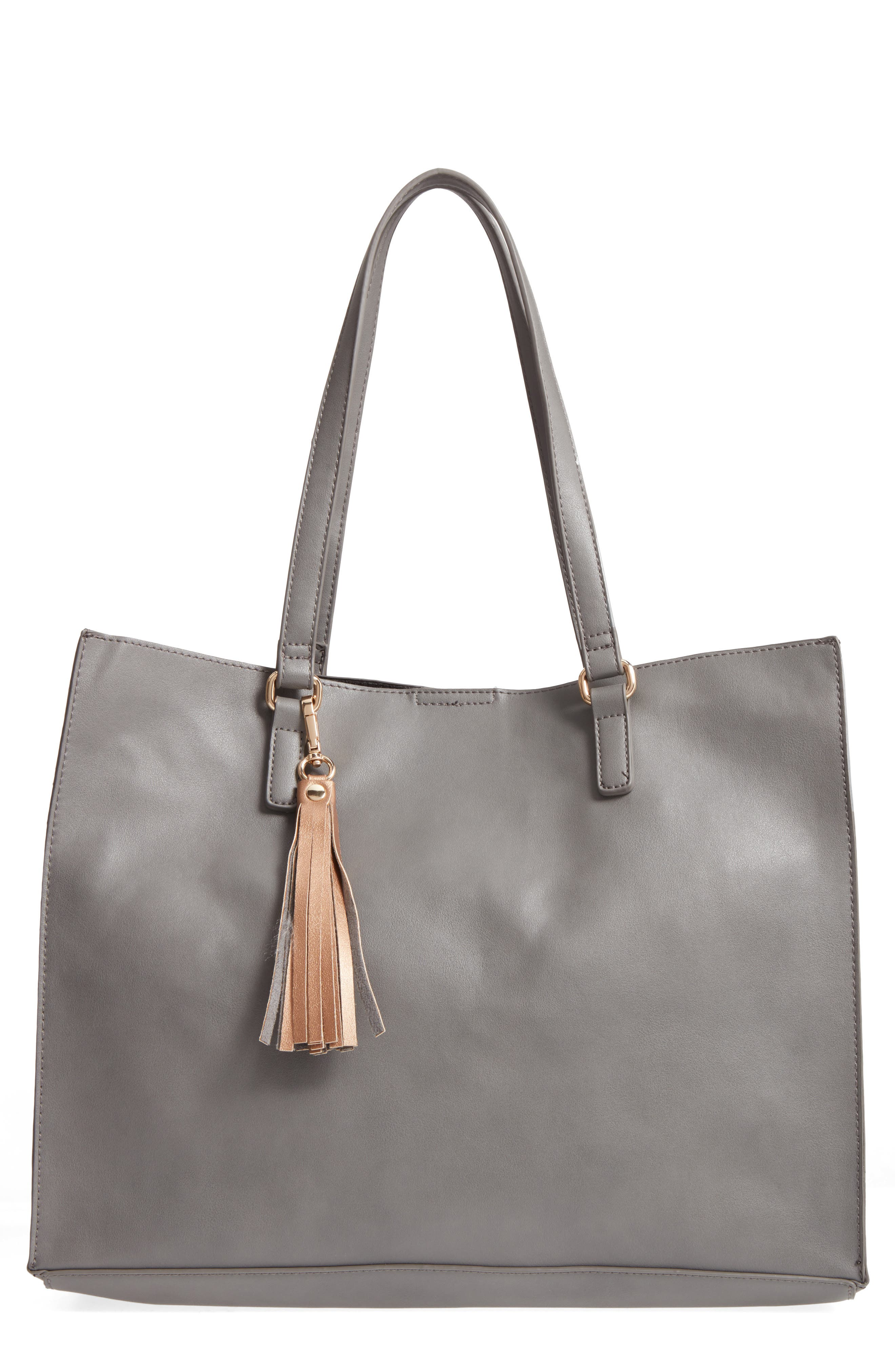 Faux Leather Tote & Pouch,                             Main thumbnail 1, color,                             Grey Multi